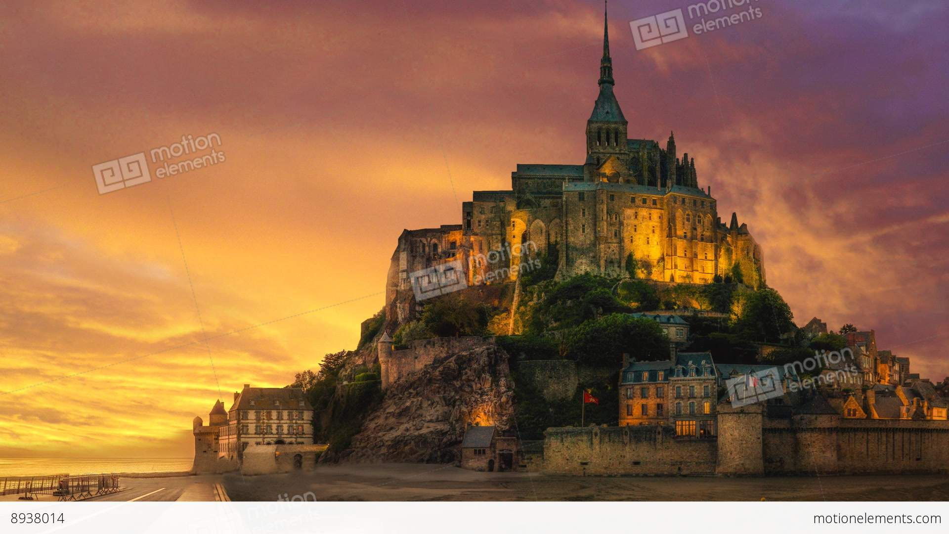 Mont Saint Michel In France Stock Animation 8938014