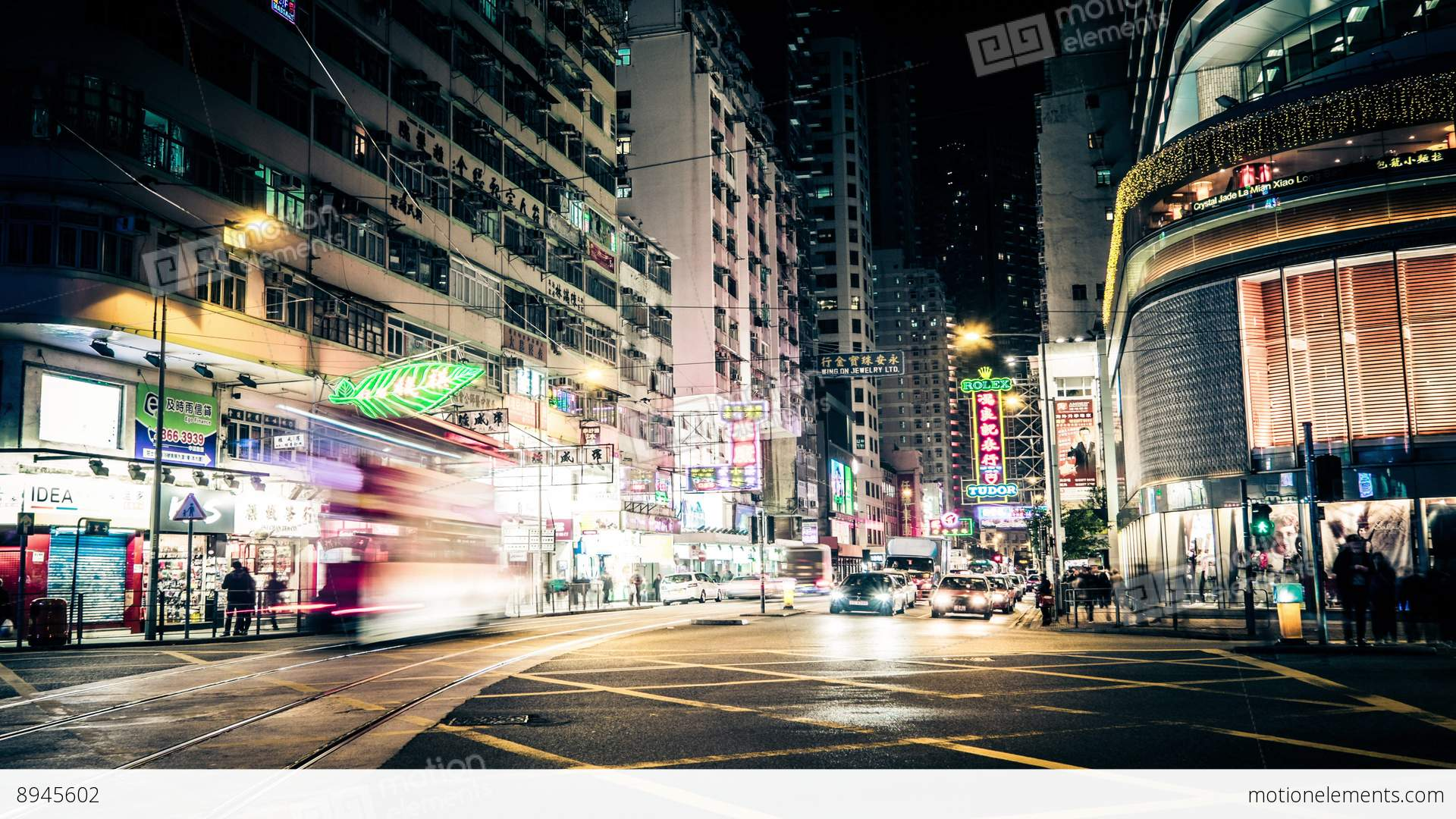 night view of modern city street with moving cars hong