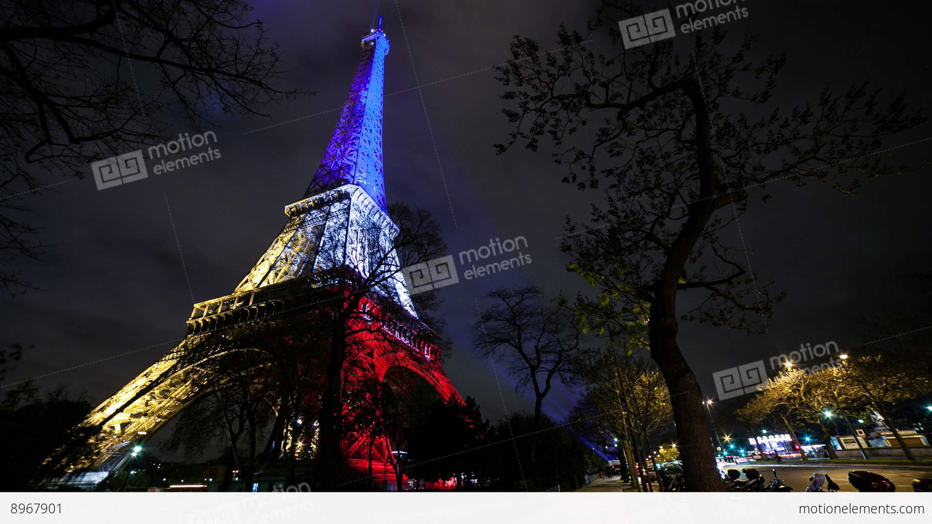 a timelapse view on eiffel tower paris in francenight stock