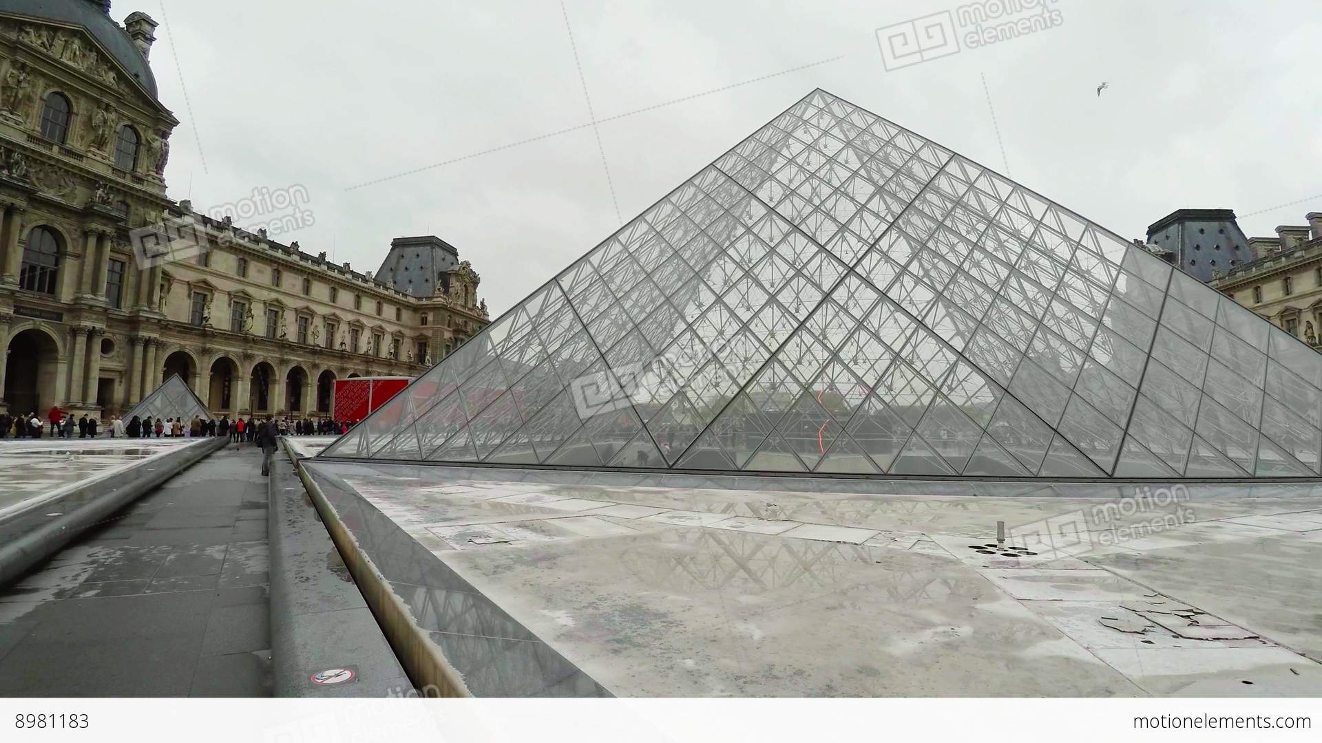 Louvre. The Famous Art Museum In Paris. Pyramid. France. 4K Stock ...