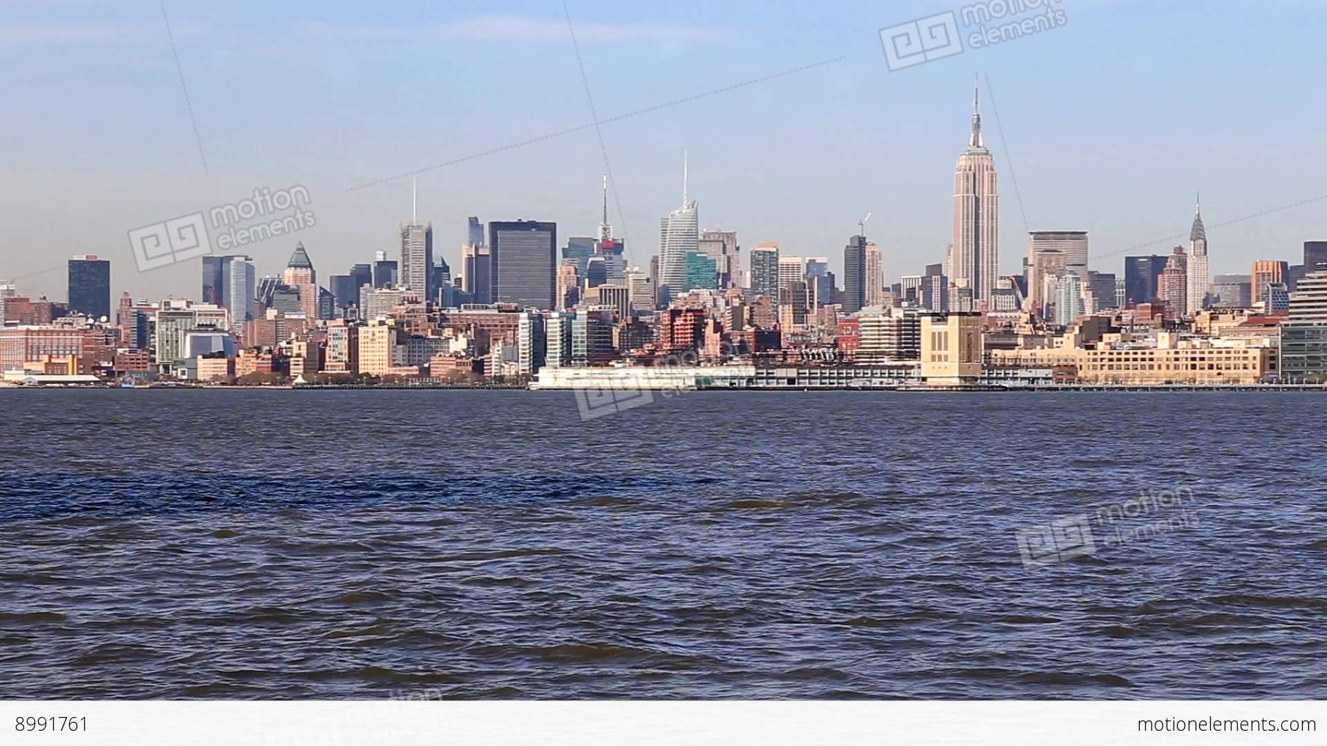 manhattan skyline new york city stock video footage 8991761. Black Bedroom Furniture Sets. Home Design Ideas