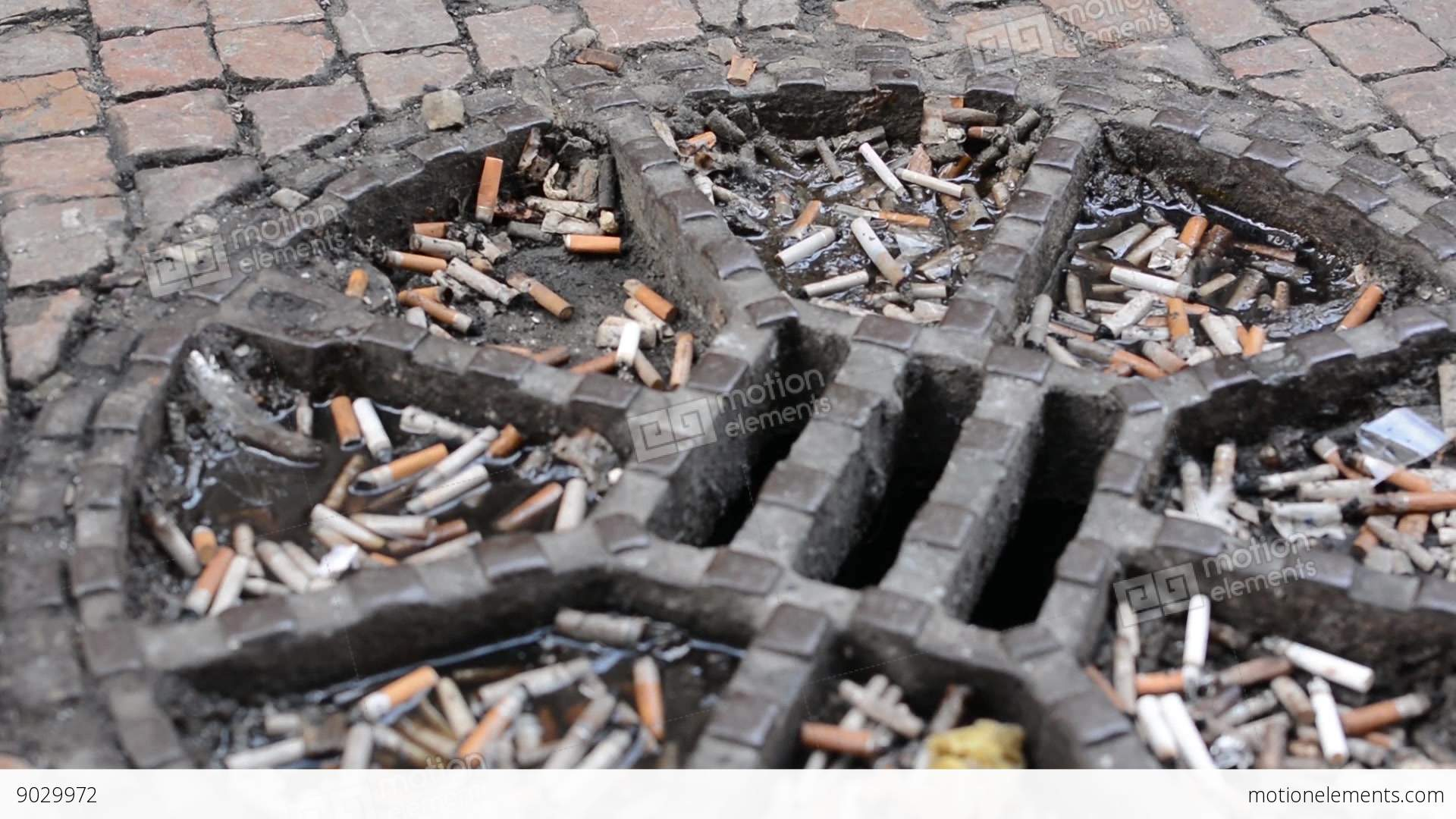 cigarette butts on the street at the top of the sewer stock video