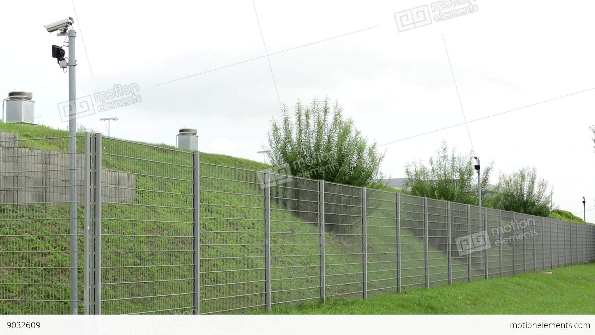 Safety fence with cameras stock video footage