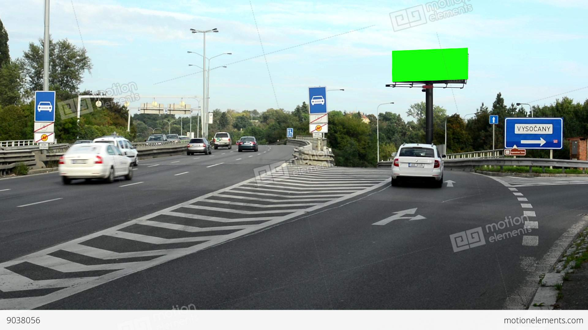 Billboard In The City Near Road (highway) - Green Screen ...