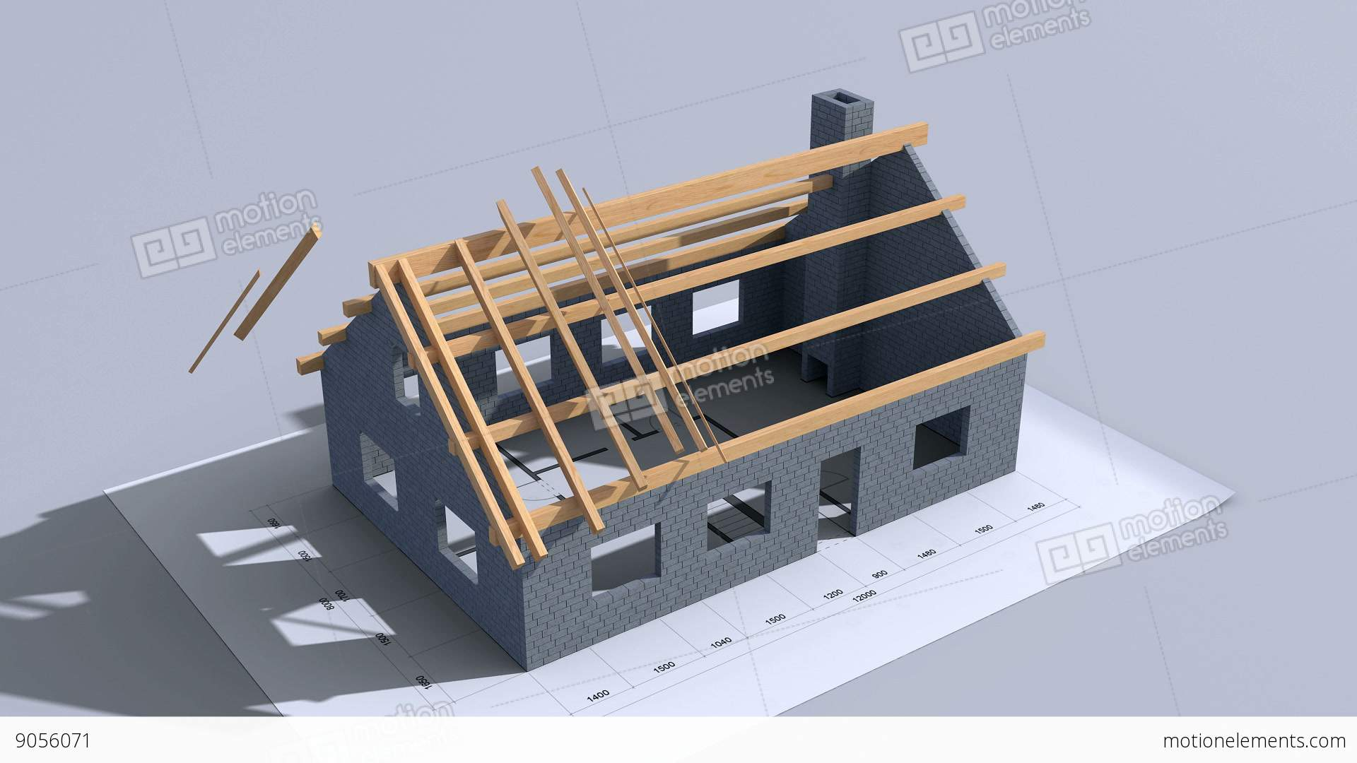 Home construction time lapse 3d animation full hd stock for Time to build a house