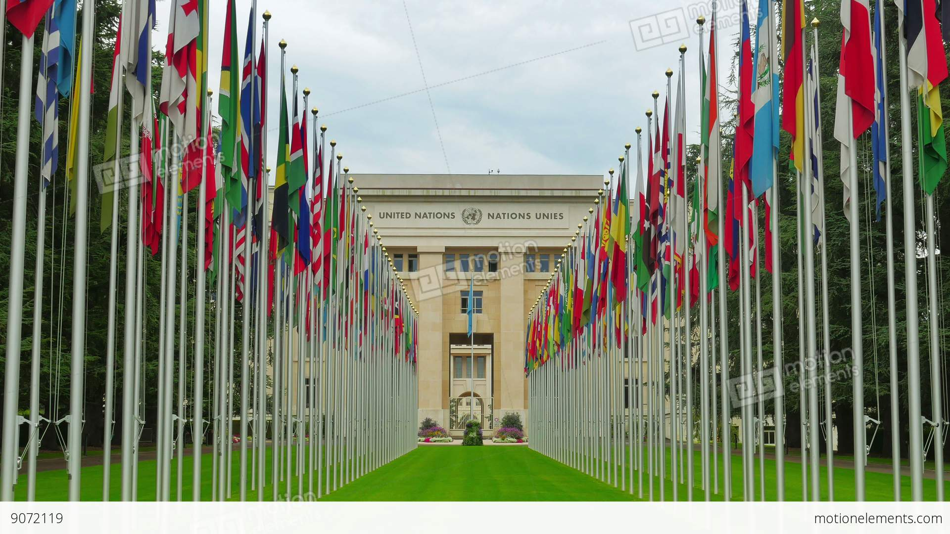 united nations building with flags  geneva  switzerland Fun Motion Water Motion Clip