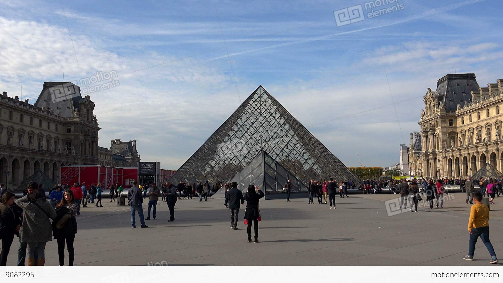 The Famous Art Museum In Paris Pyramid France Stock Video Footage