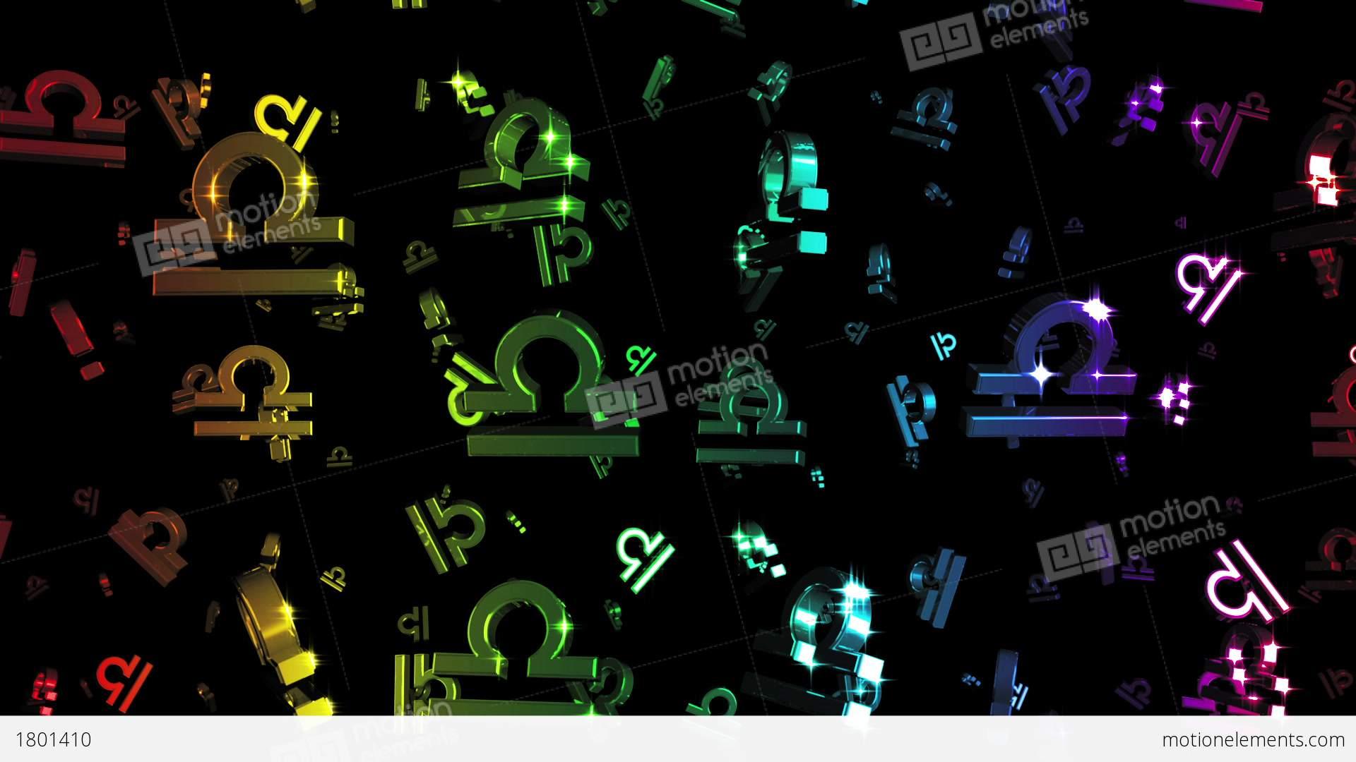 looping rainbow zodiac libra symbols falling cg動画素材 1801410