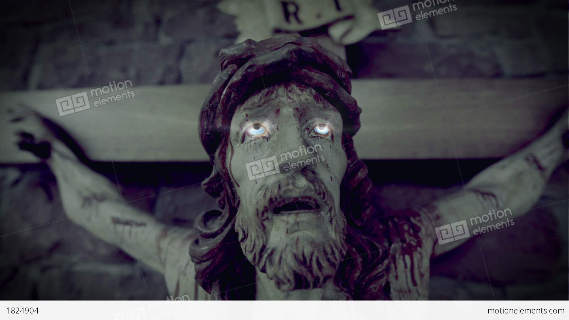 horror scary jesus on the cross 10937 stock video footage 1824904