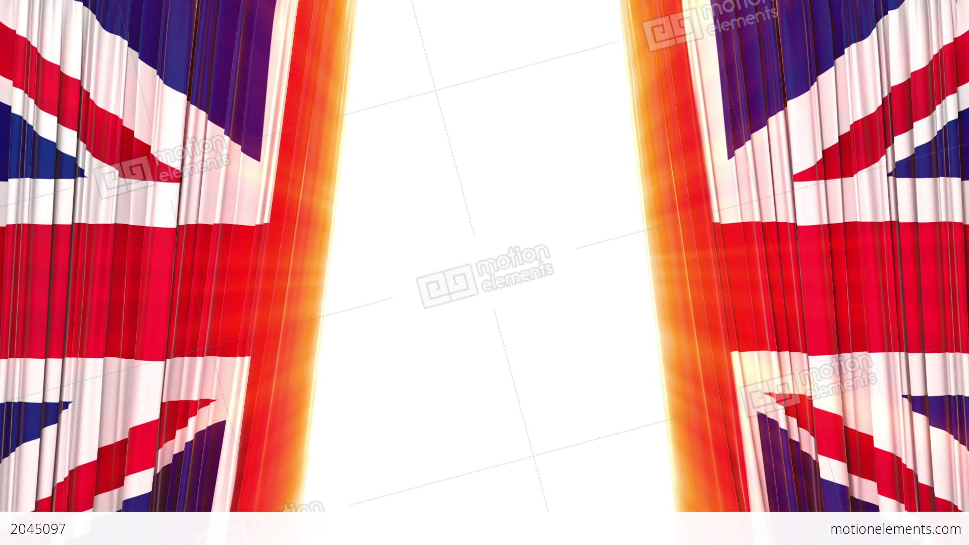 United Kingdom Flag Curtain Opening And Closing 3 Stock Animation