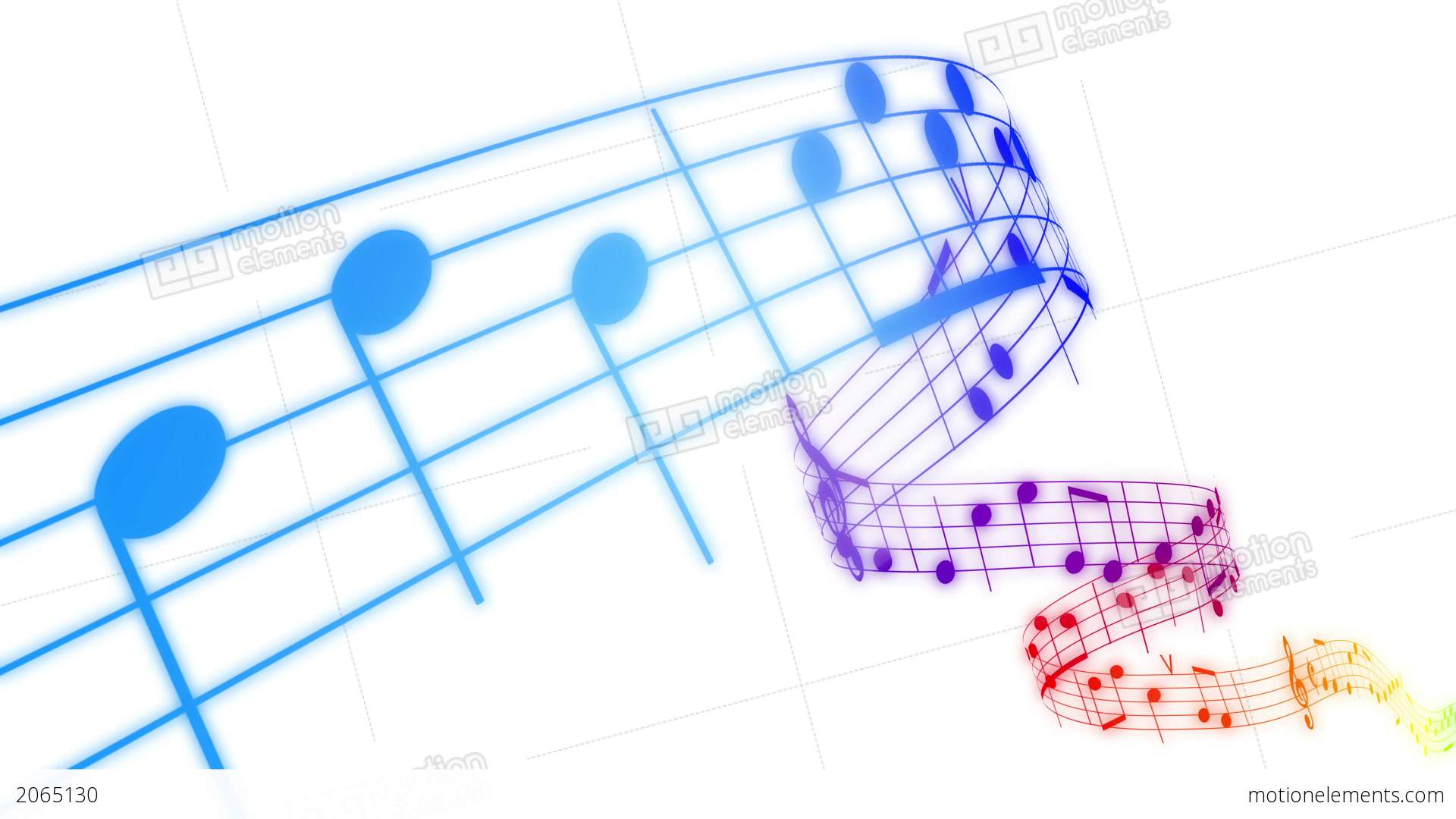 music notes flowing in rainbow colors on white bac stock
