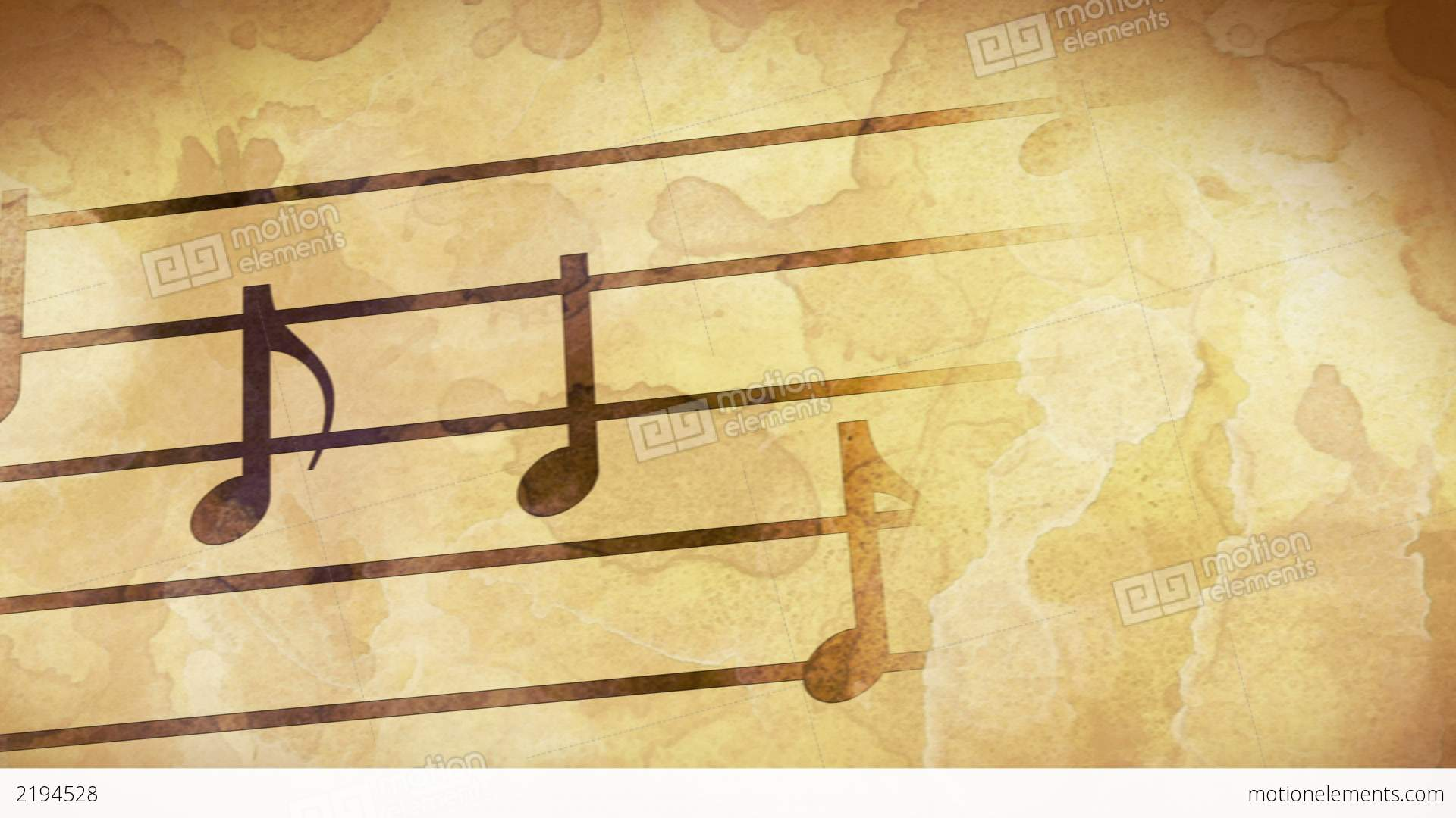 Music Notes On Old Paper Loop Stock Animation | 2194528
