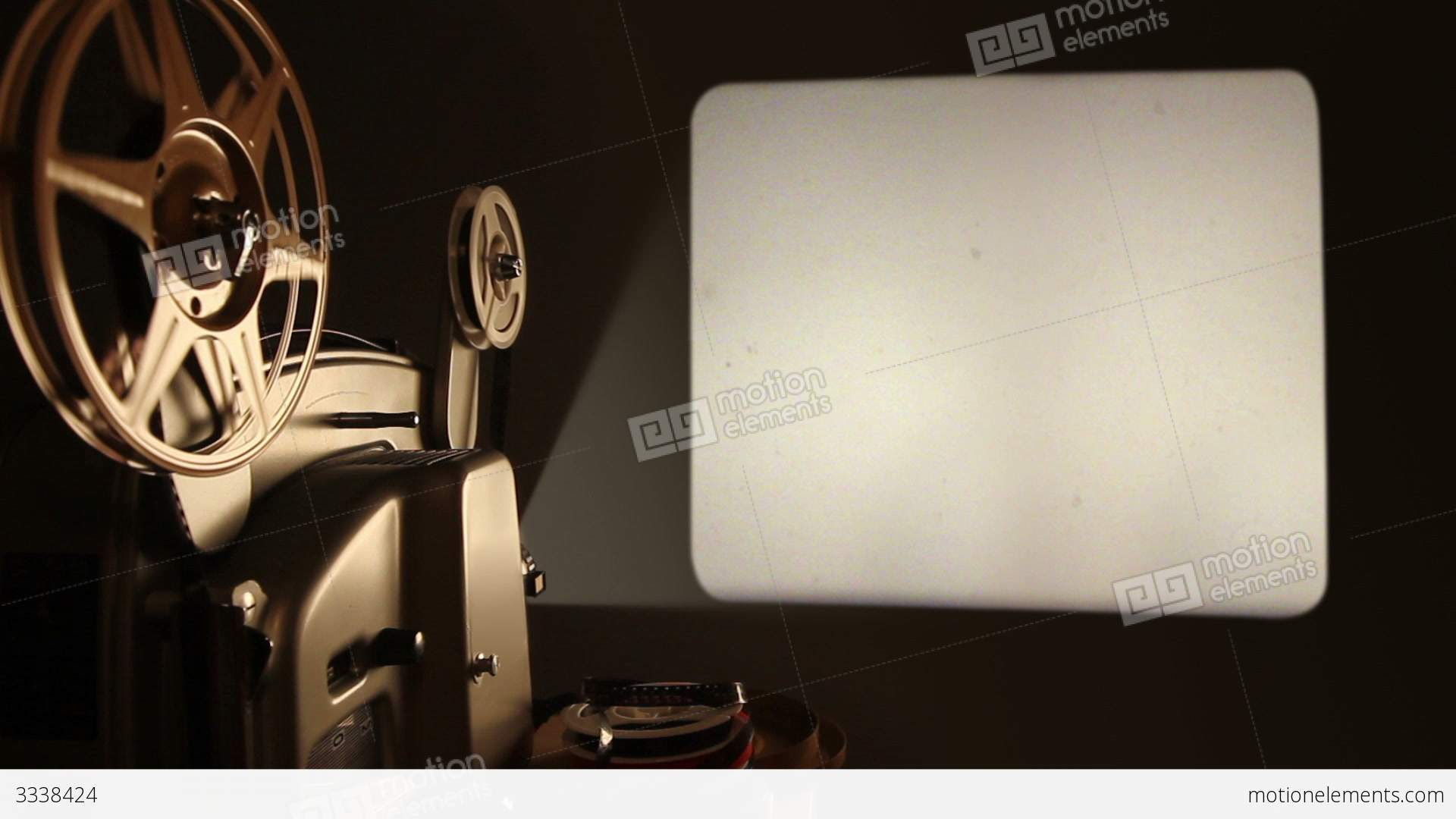 Film Projector And Blank Screen Stock Video Footage 3338424