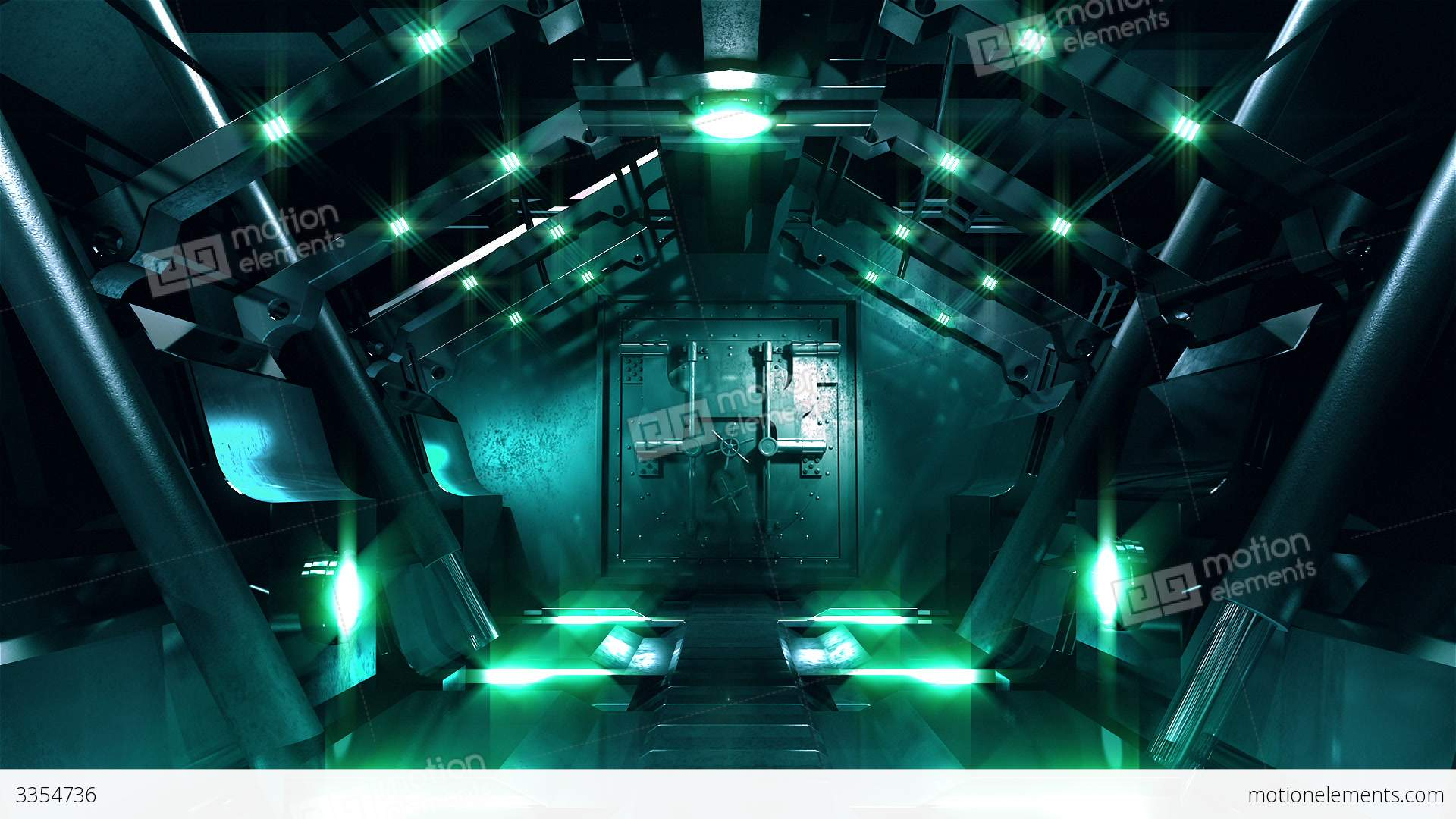 Steel Gate Opening In Science Fiction Tunnel Stock