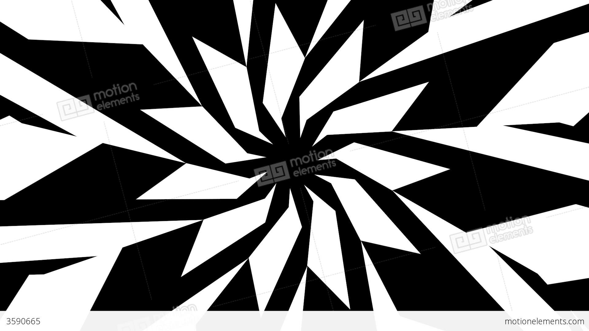 black and white star shape twisting and rotating stock animation