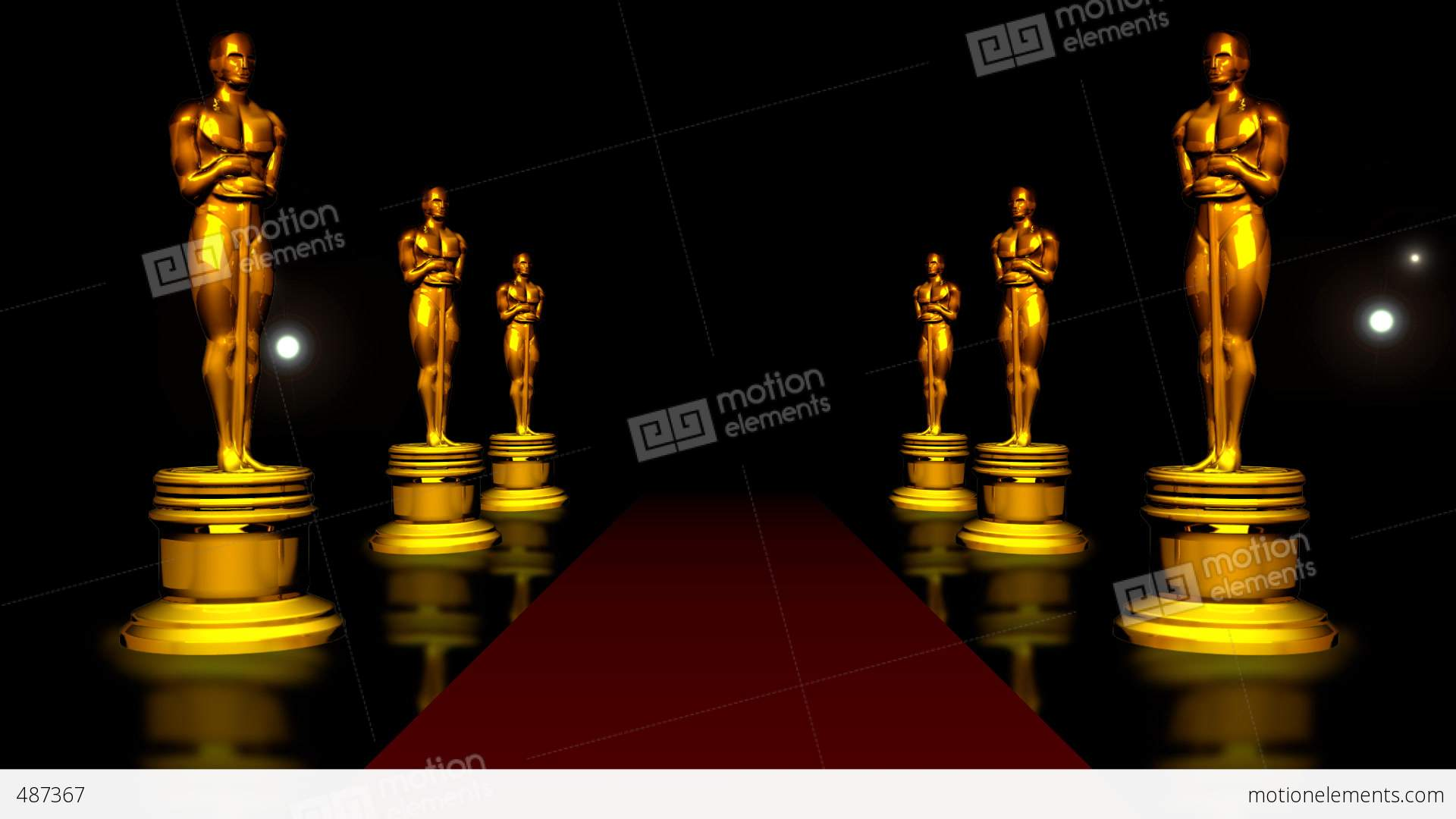Red Carpet And The Golden Oscar Stock Animation 487367