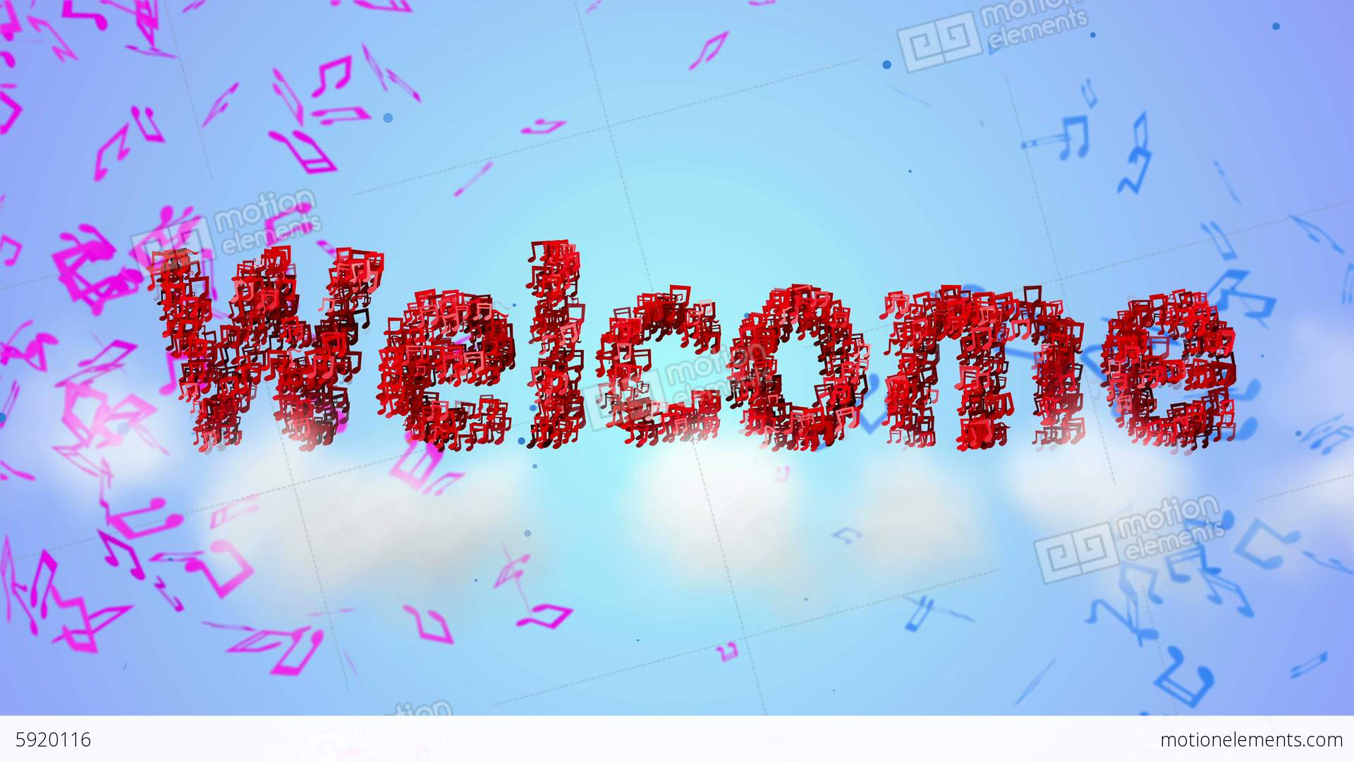 Welcome Red Musical Note Particles Loop Animation Stock