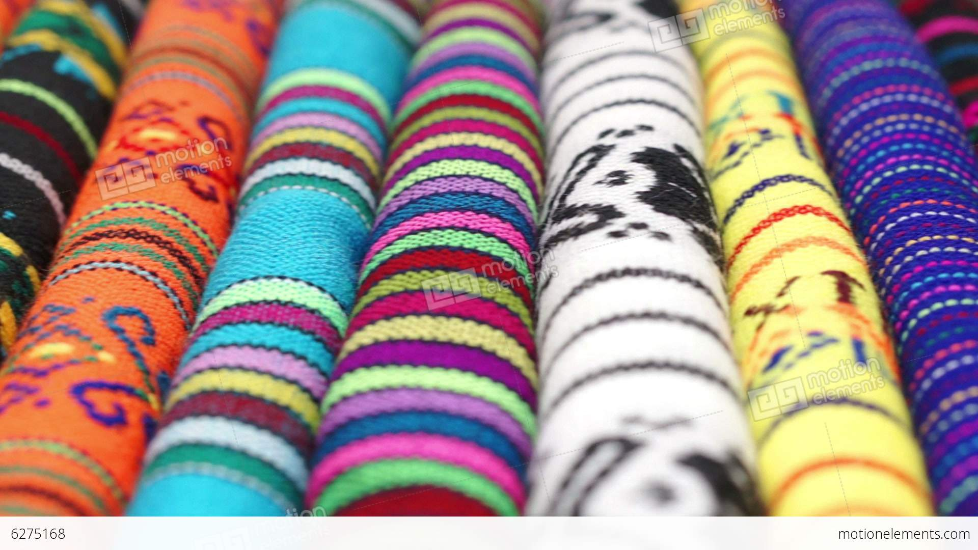 Dolly Across Traditional Mexican Fabrics Stock Video Footage