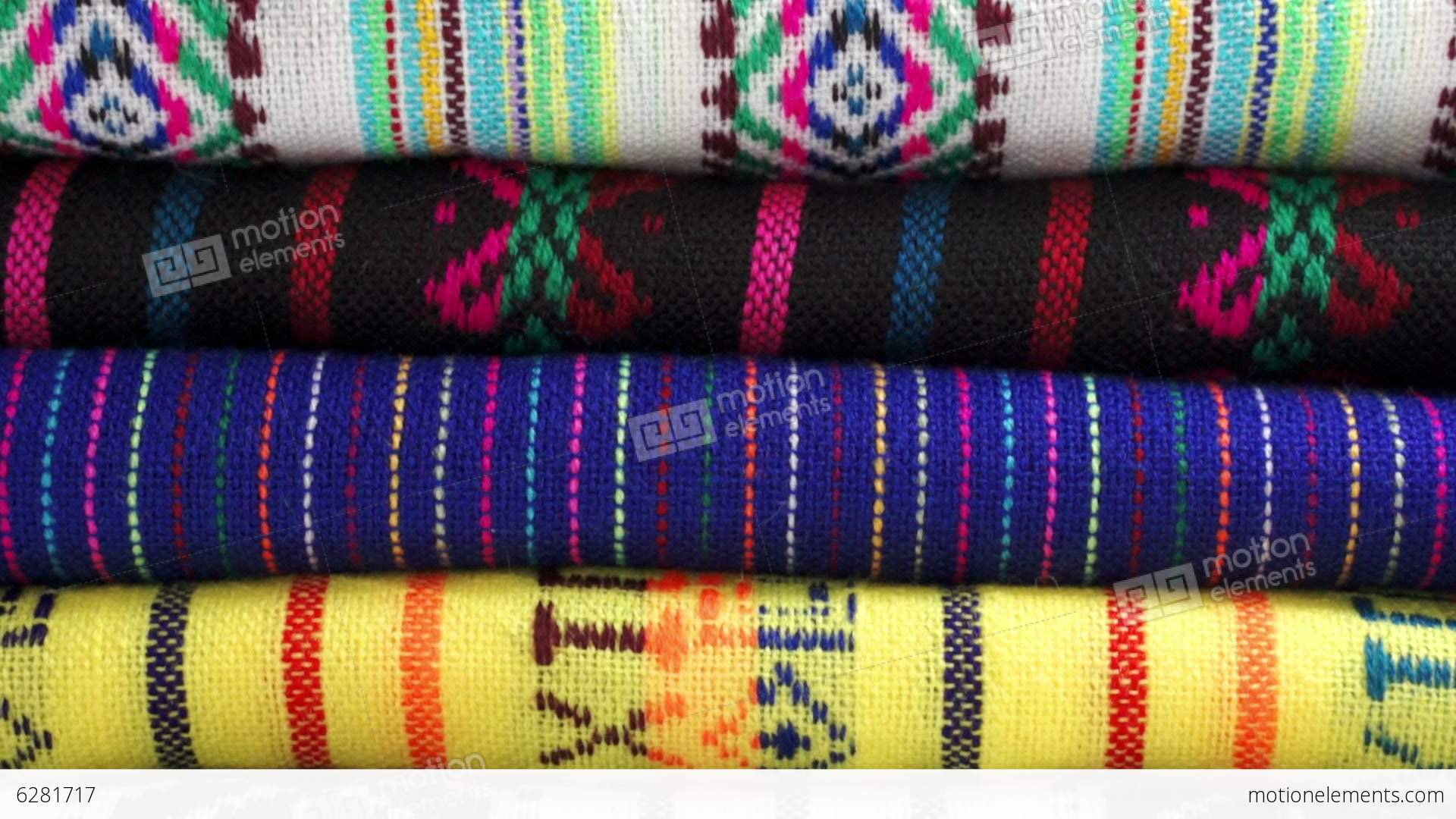 Overhead Dolly Traditional Mexican Fabrics Stock Video Footage