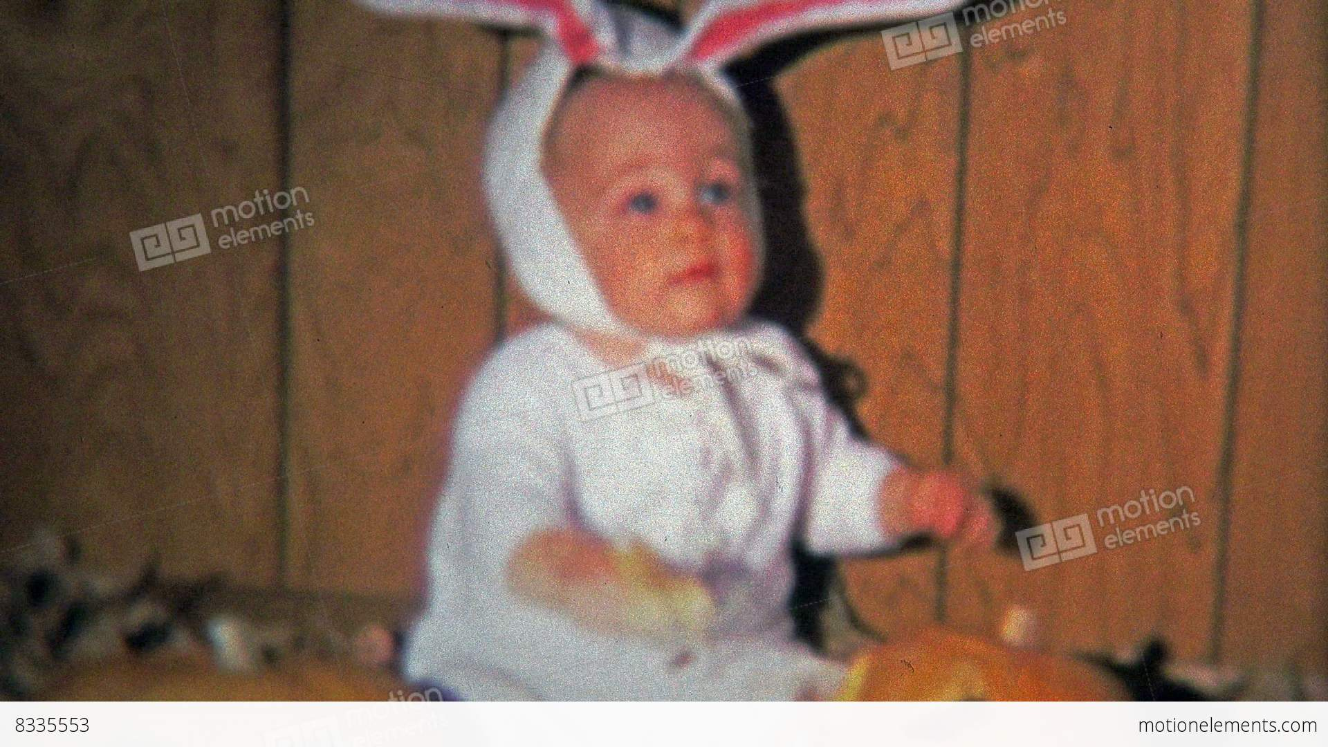 dallas tx 1971 baby dressed up as bunny for halloween
