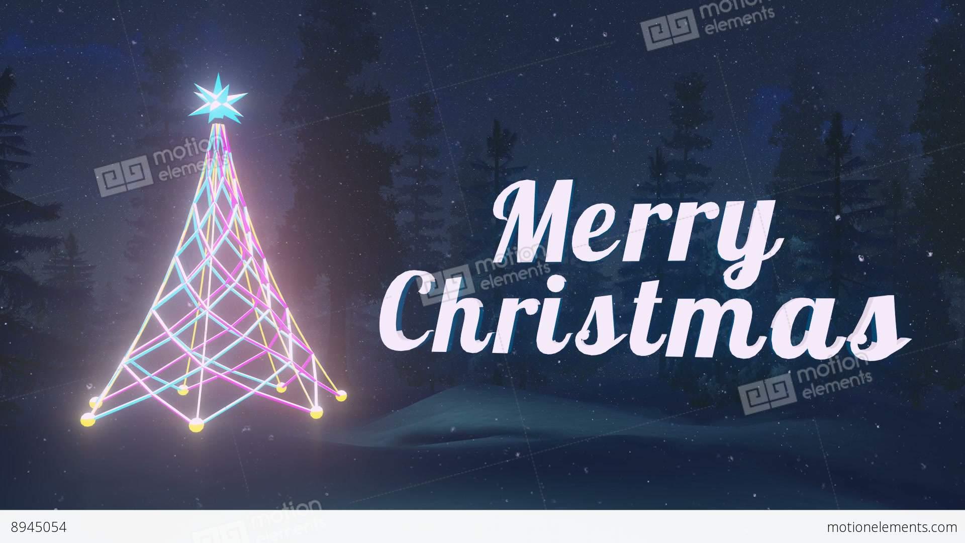 animated merry christmas at dark night loopable stock video footage - Merry Christmas Animated