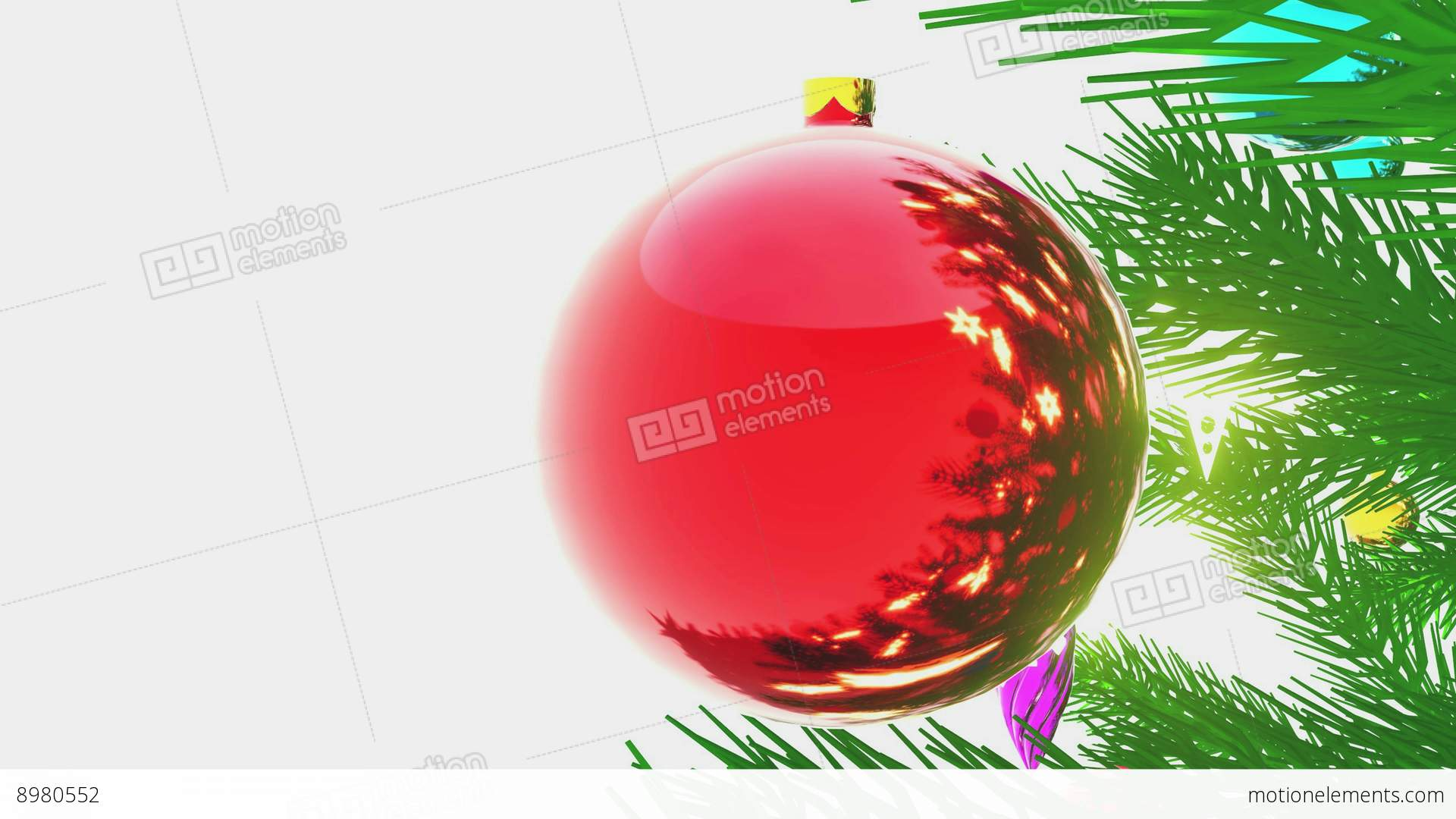Decorated Christmas Tree Close Up On White Background Stock Video Footage