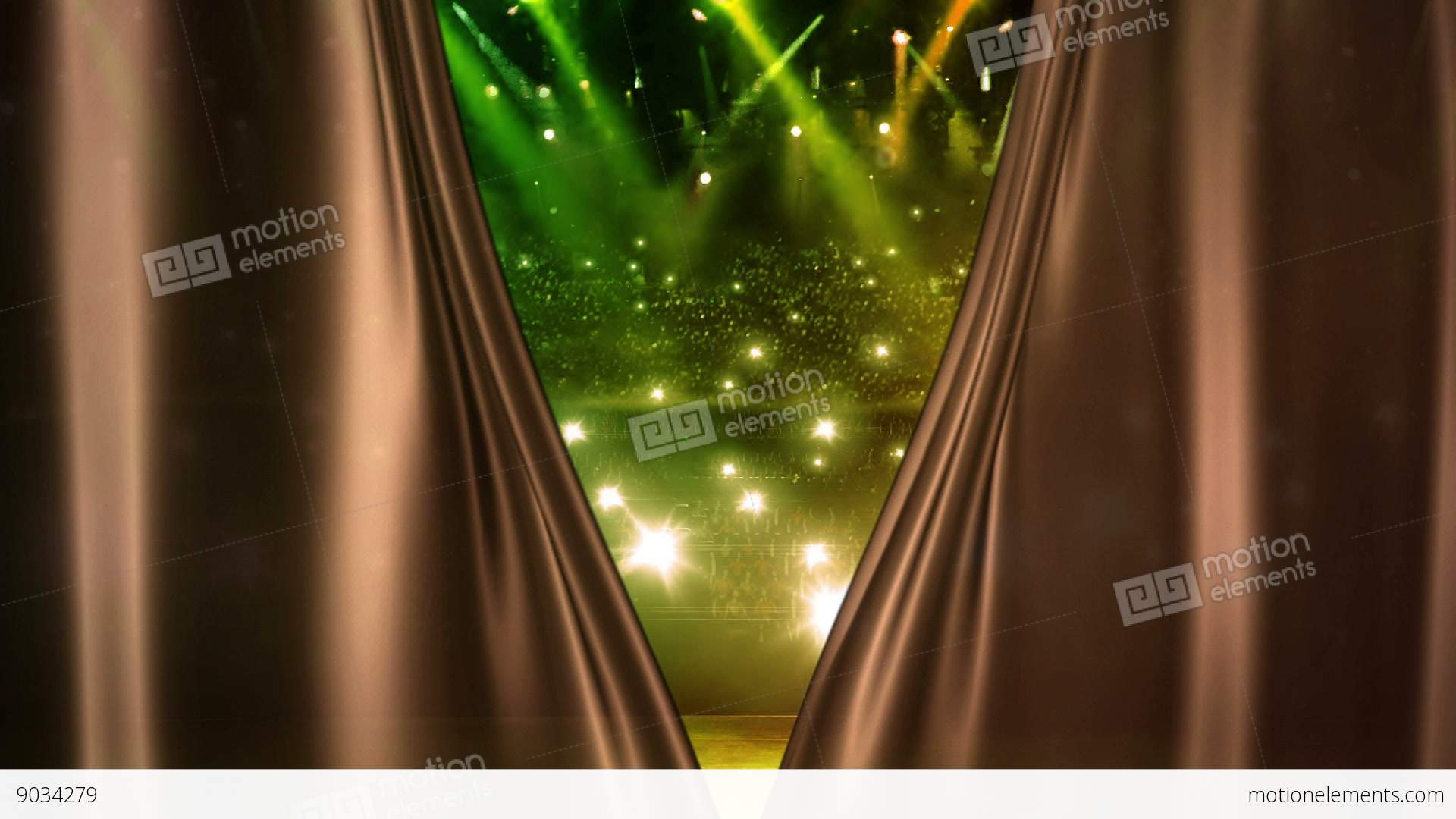 Brown Curtain Opening At Concert Stage Stock Video Footage