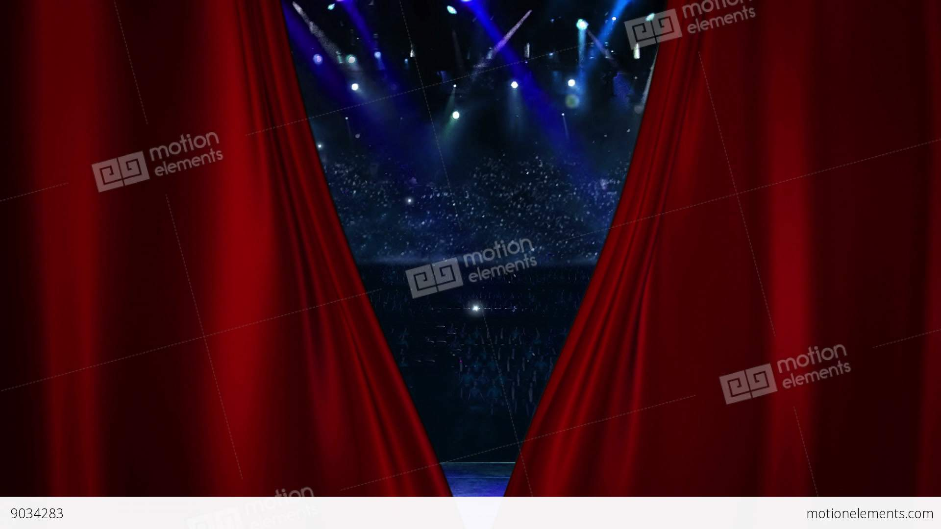 Red Curtain Opening At Concert With Flash Light Stock Video Footage