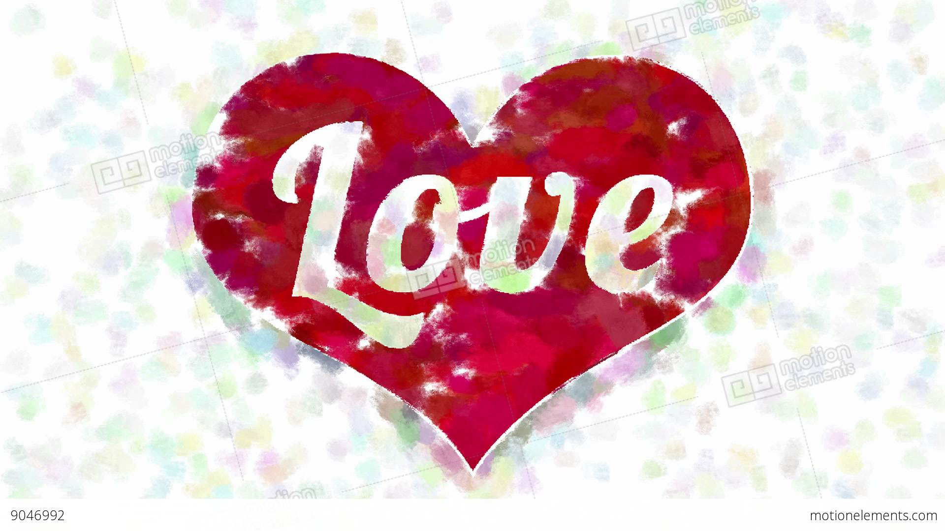 Word Love In Heart Symbol Abstract Painting Stock Animation 9046992