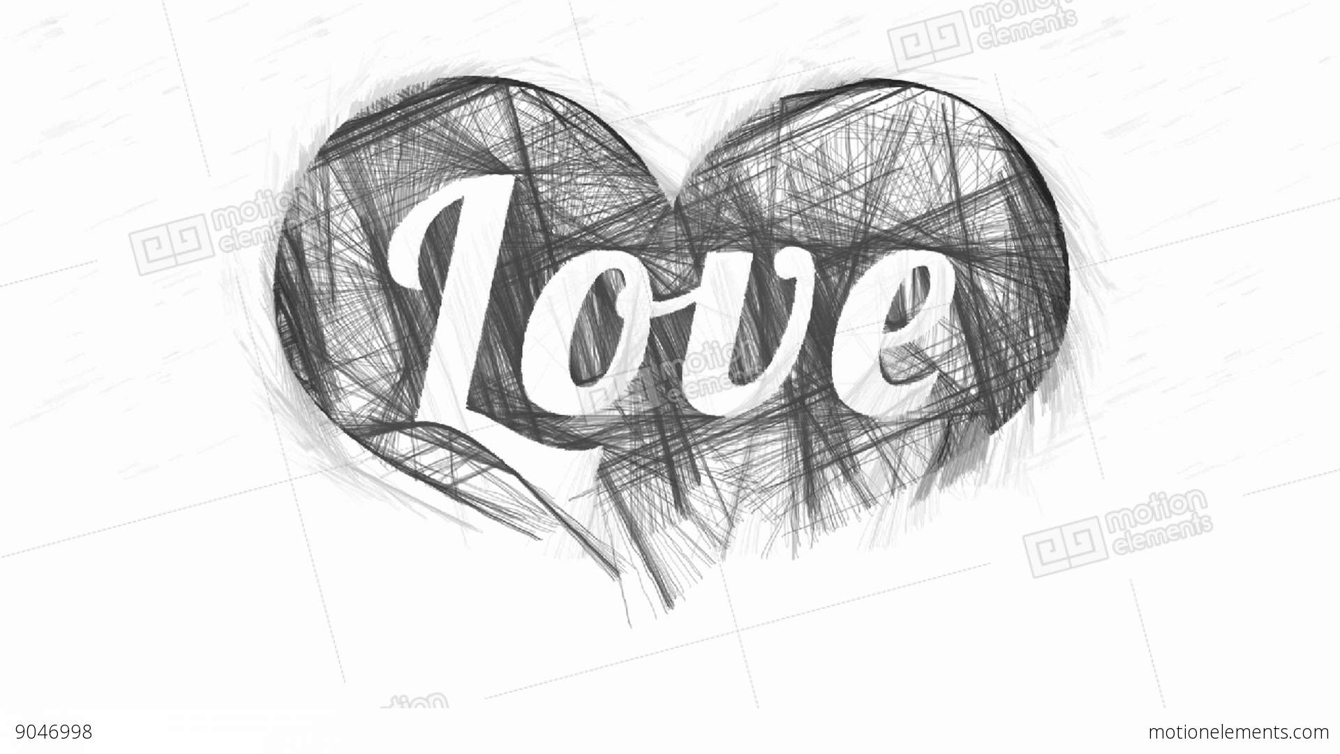 Word Love In Abstract Monochrome Hatched Heart Stock Footage