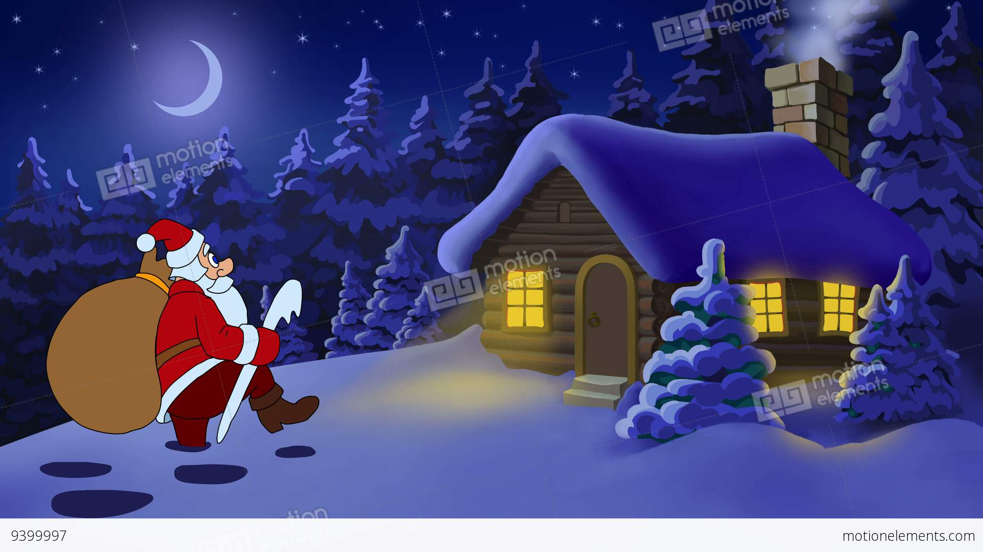 Christmas And New Year Animated Card With Santa Claus Stock ...