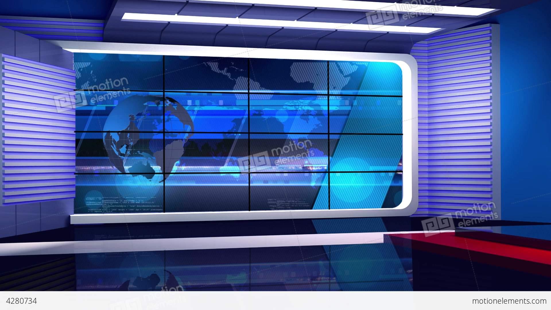 News Tv Studio Set 35 Virtual Background Loop Stock
