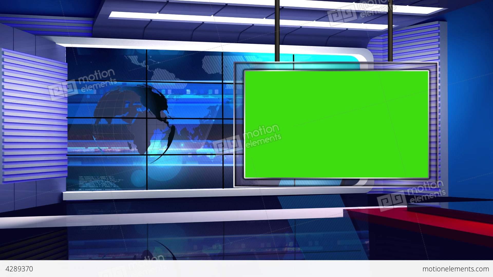 News Tv Studio Set 32 Virtual Background Loop Stock