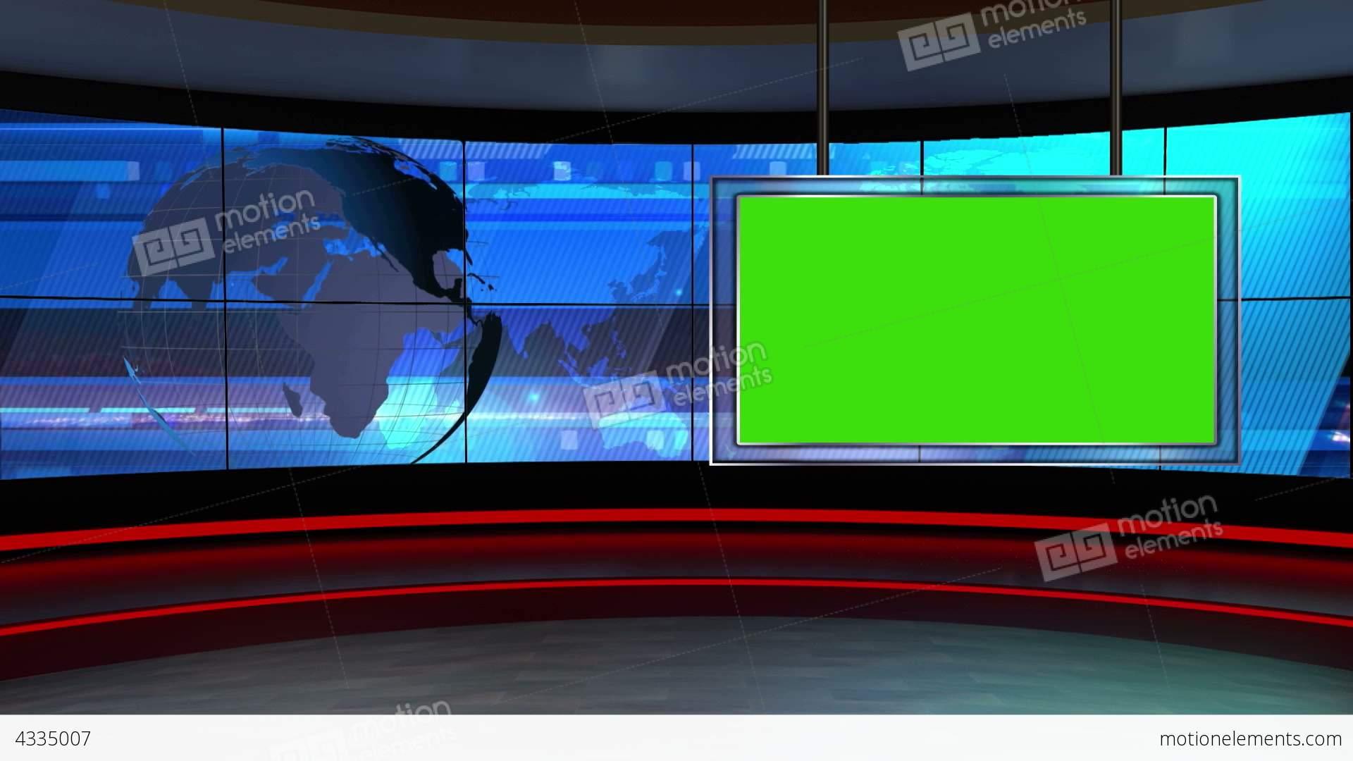 News TV Studio Set 24 Virtual Green Screen Backgro Stock