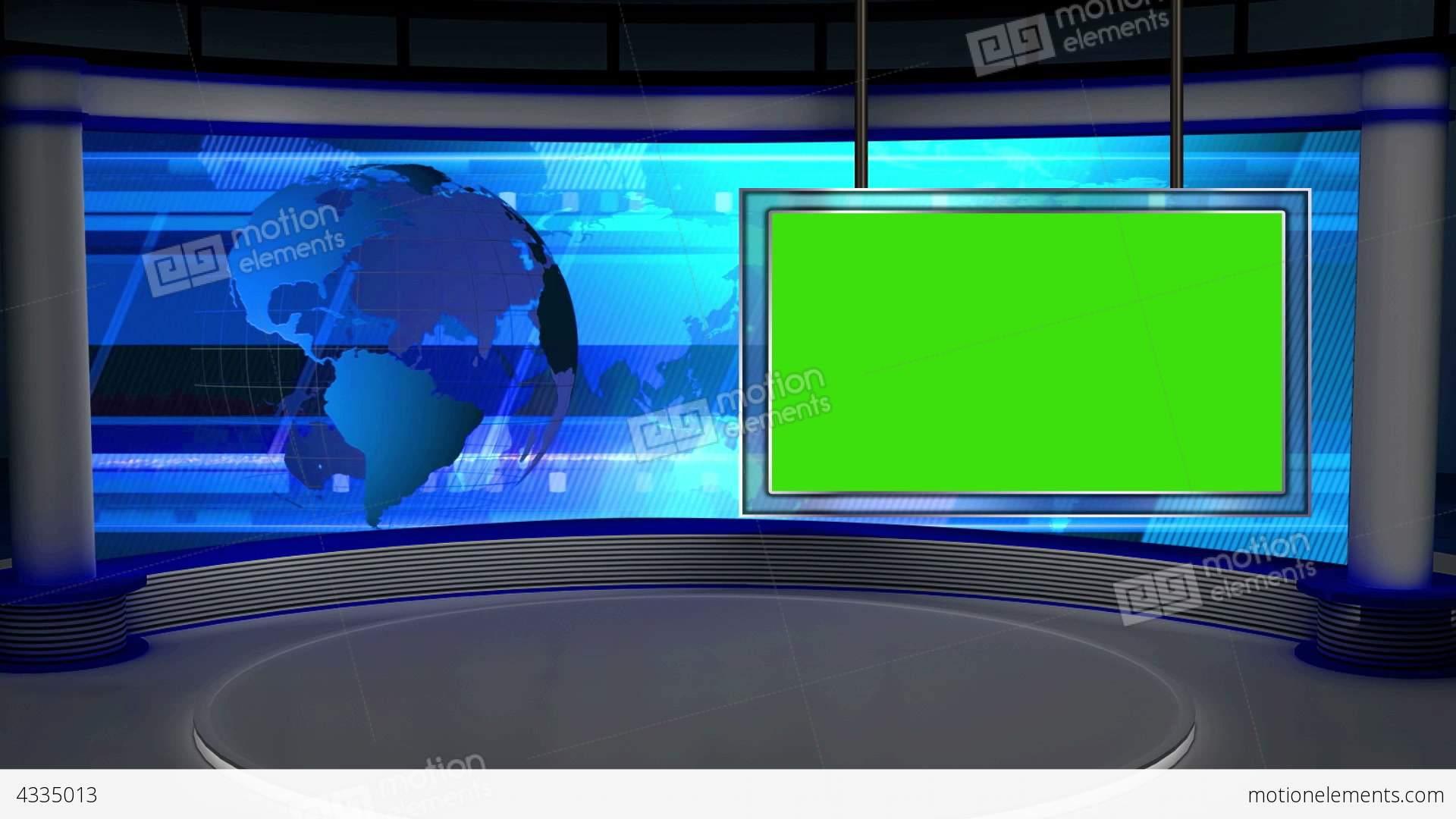 News Tv Studio Set 28 Virtual Background Loop Stock Video Footage