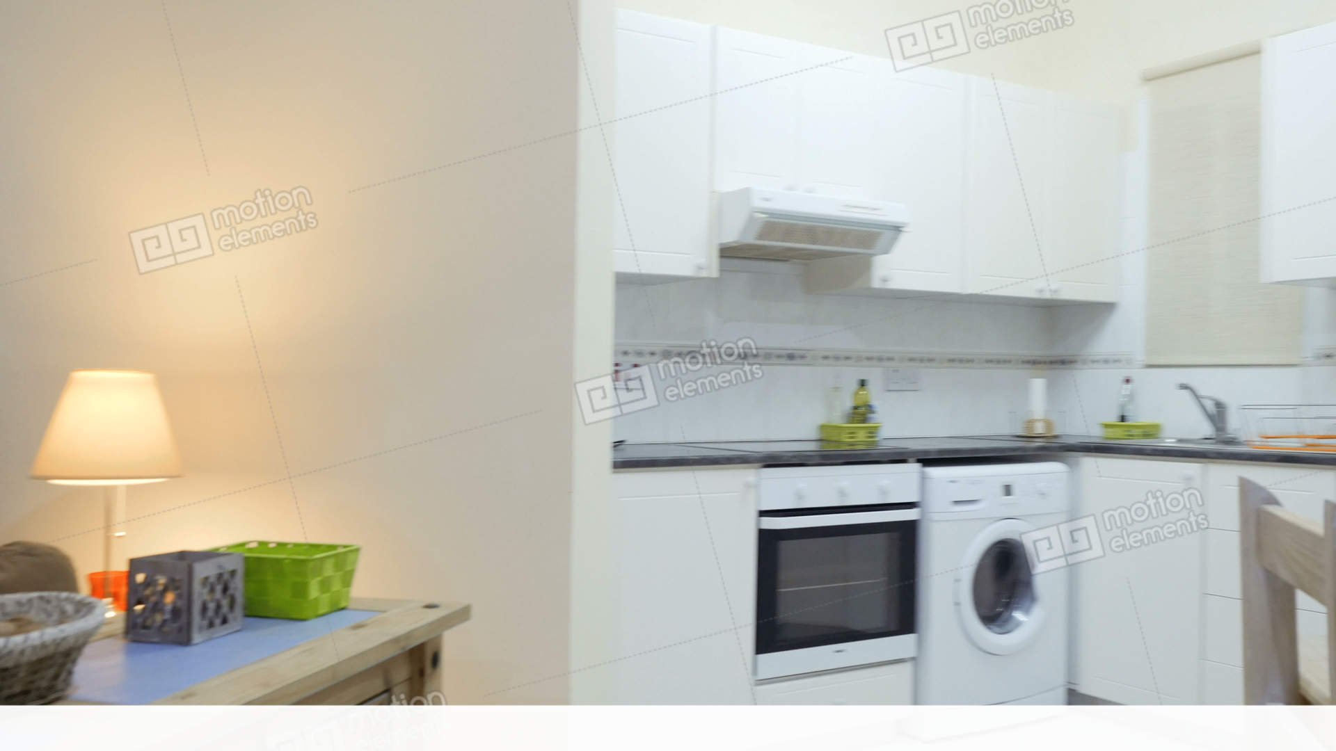 Stylish Living Room Connect With Small Kitchen In The Apartment Studio Stock video footage