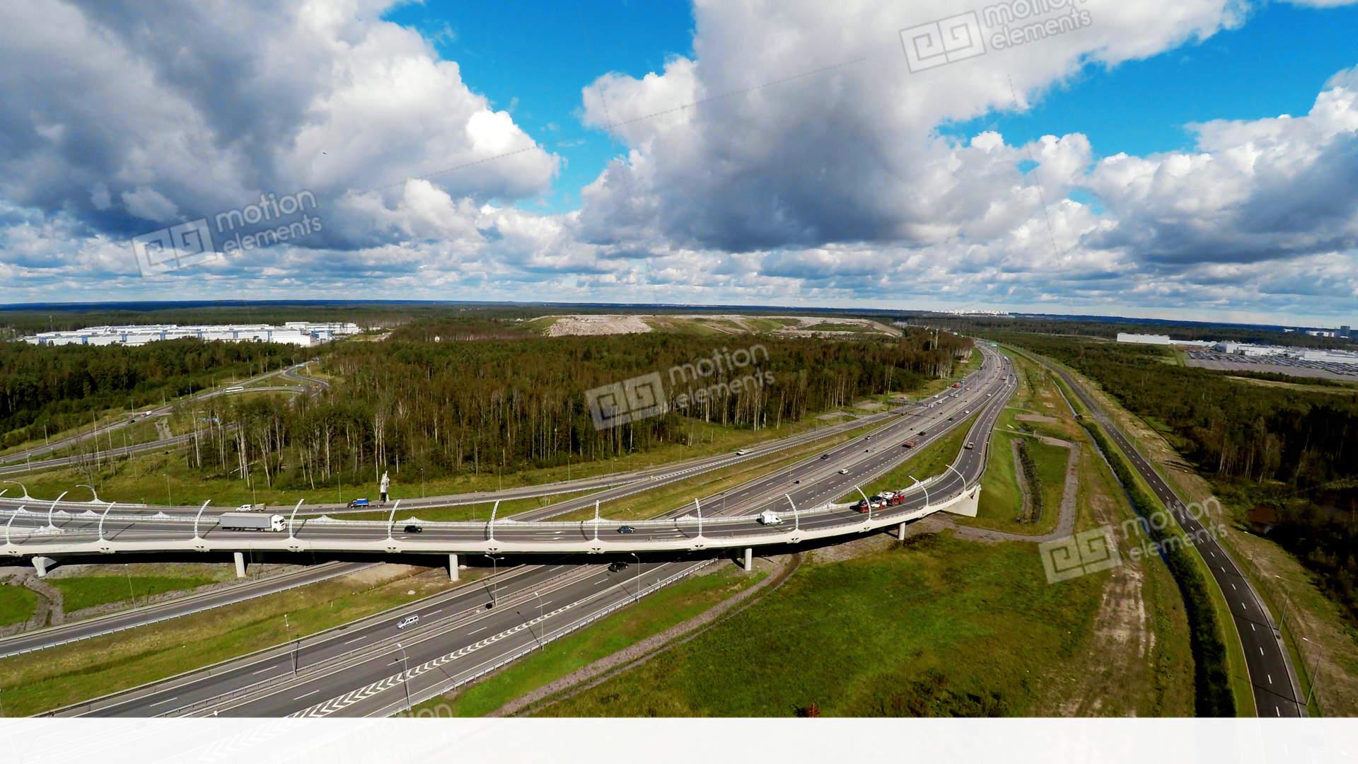 Aerial View. Highway Road Junction. St. Petersburg Ring ...