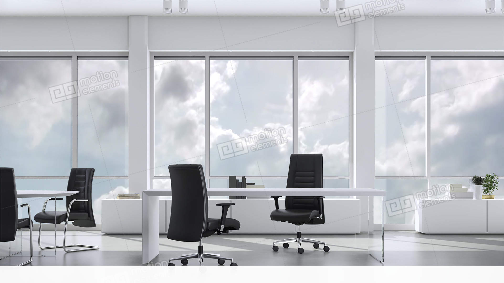 View From Window In Business Office In Skyskraper On Cloudy Sky