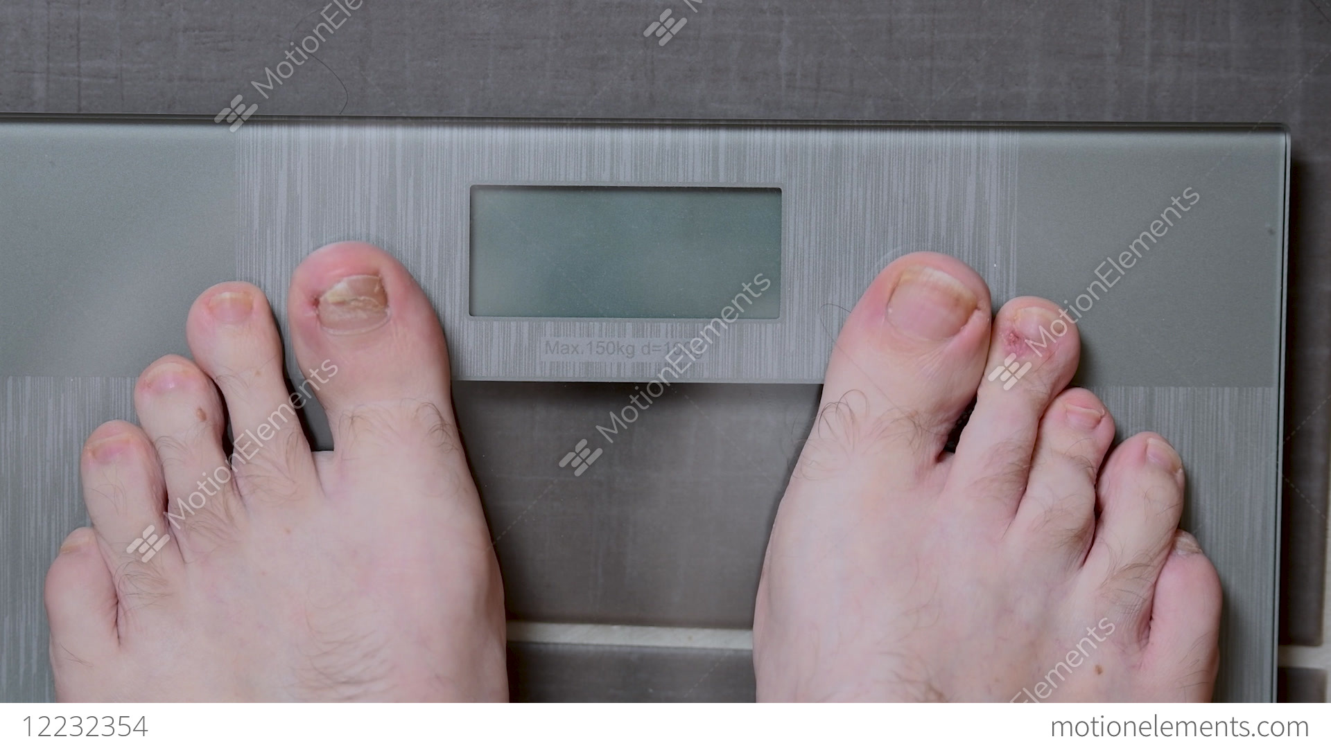 Male Feet On Glscales Menst Body Weight Stock Footage