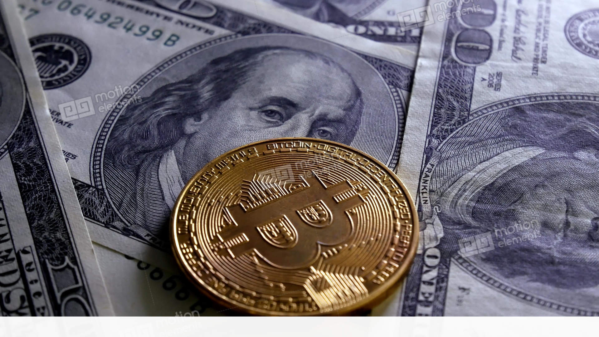 Gold Bitcoin Btc Coins Rotating On Bills Of 100 Dollars Stock Video Footage