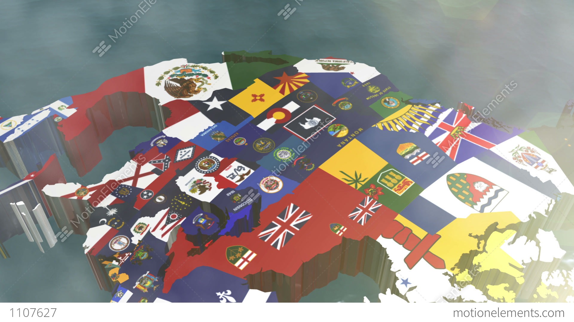 Zoom Into USA State Flags On A D Map Stock Animation Royalty - 3d map usa states