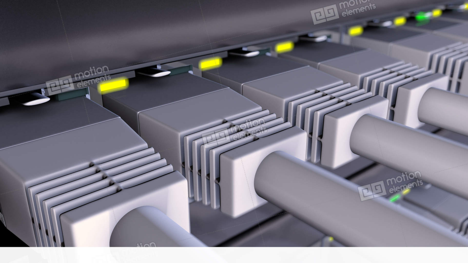 RJ45 Connectors Plugged In To Network Switch Loop Stock Animation ...