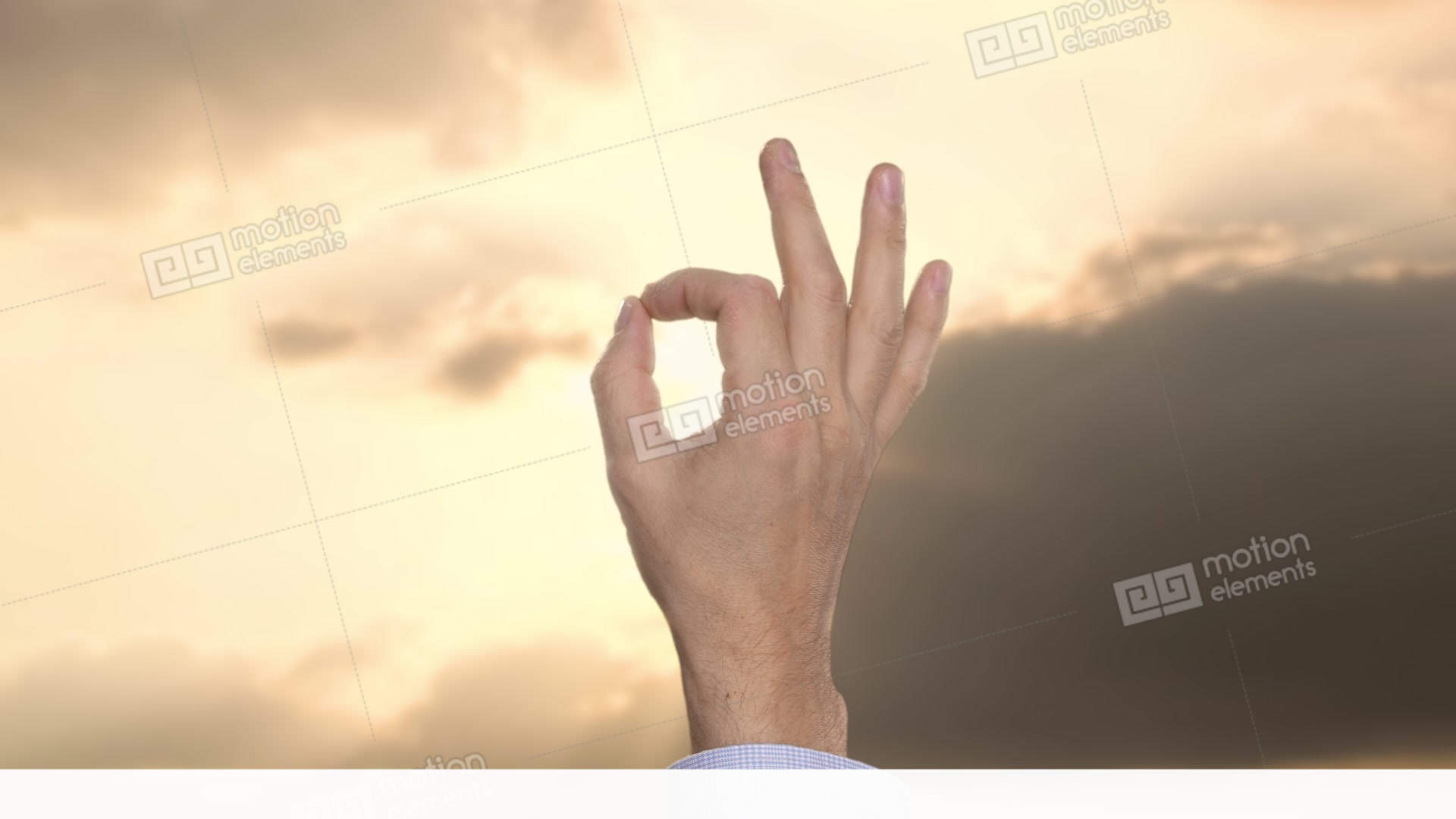 Businessman Showing Ok Sign With Cloudy Sunset Sky On Background