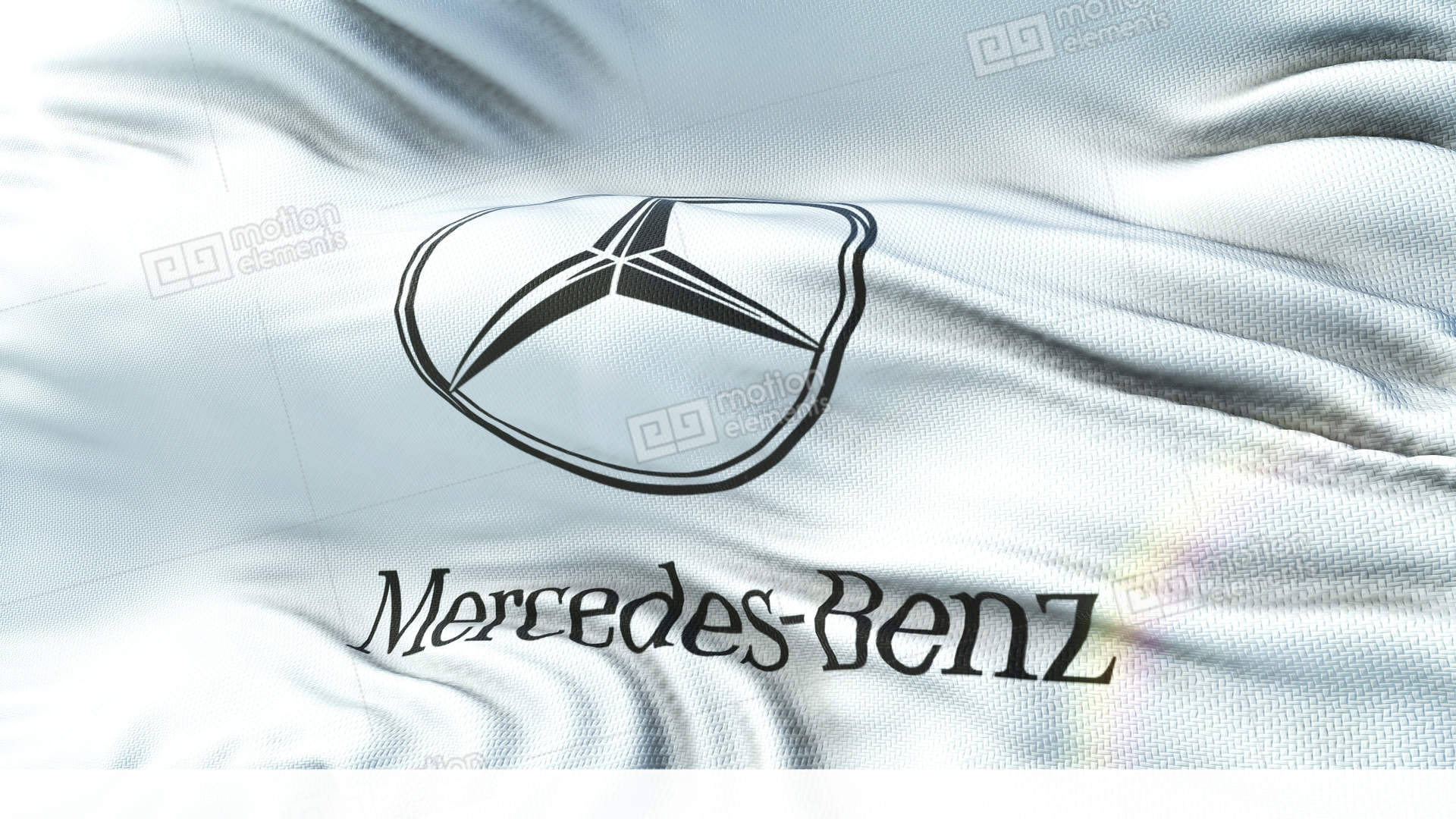 Mercedes Benz Flag Waving On Sun Seamless Loop With Highly Detailed