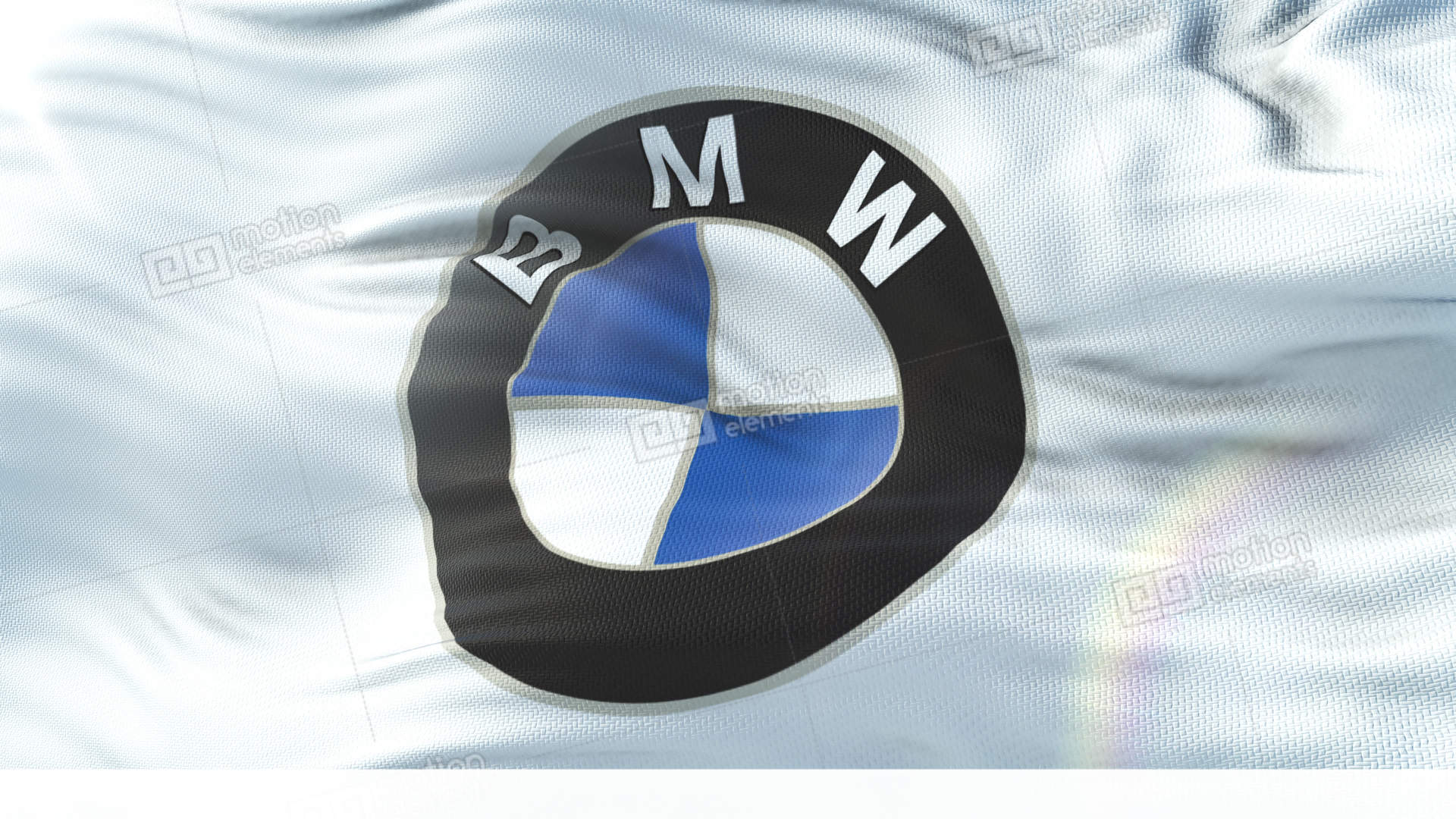 Bmw Flag Waving On Sun Seamless Loop With Highly Detailed Fabric