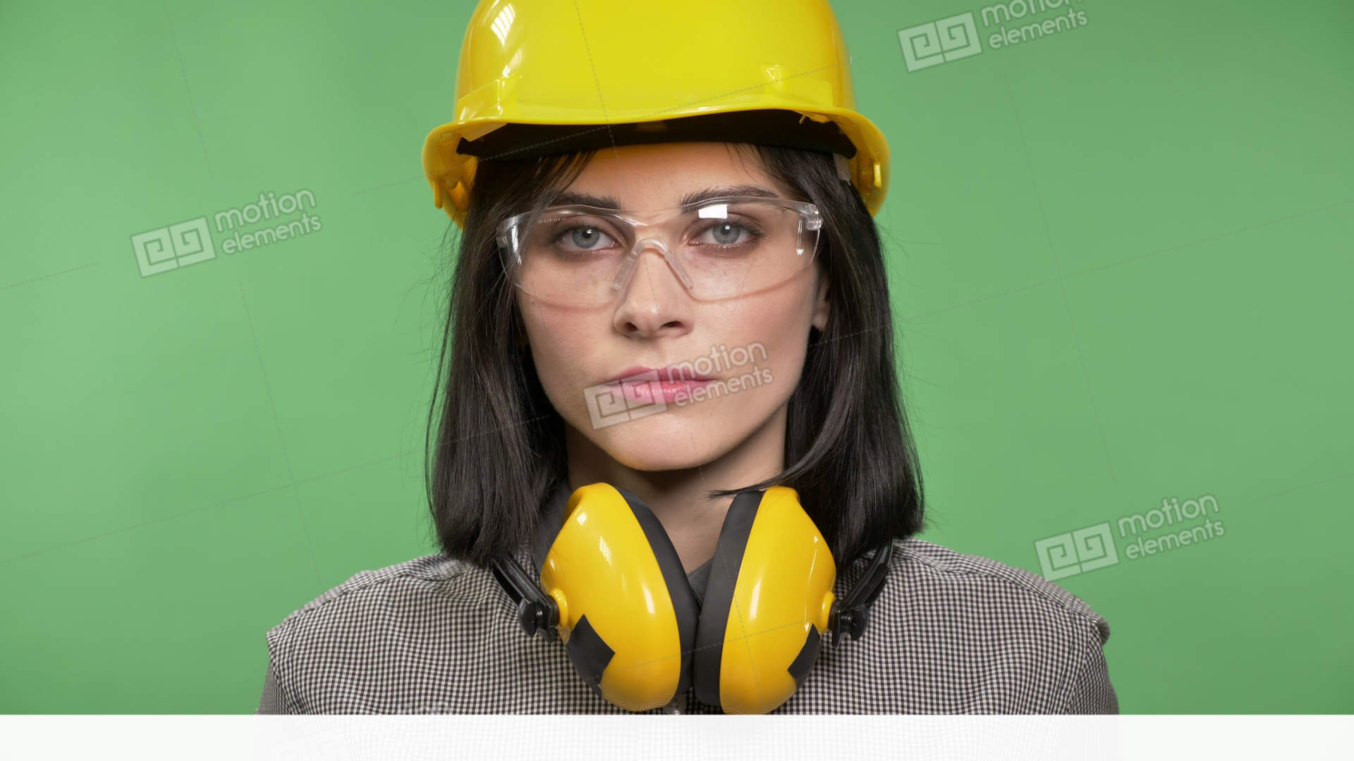 6f66897c195 Young Charming Builder Woman Standing In Earphones