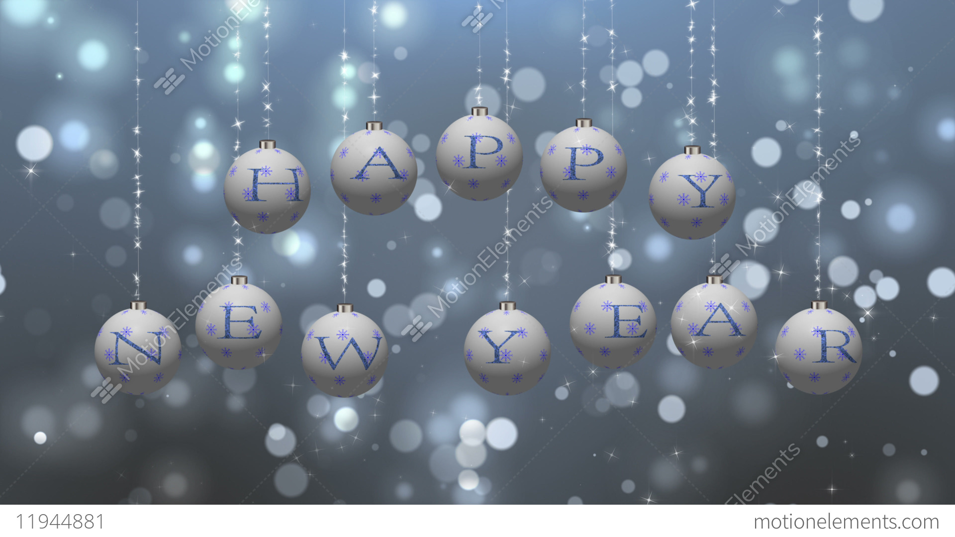 happy new year wishes on white ornaments stock video footage
