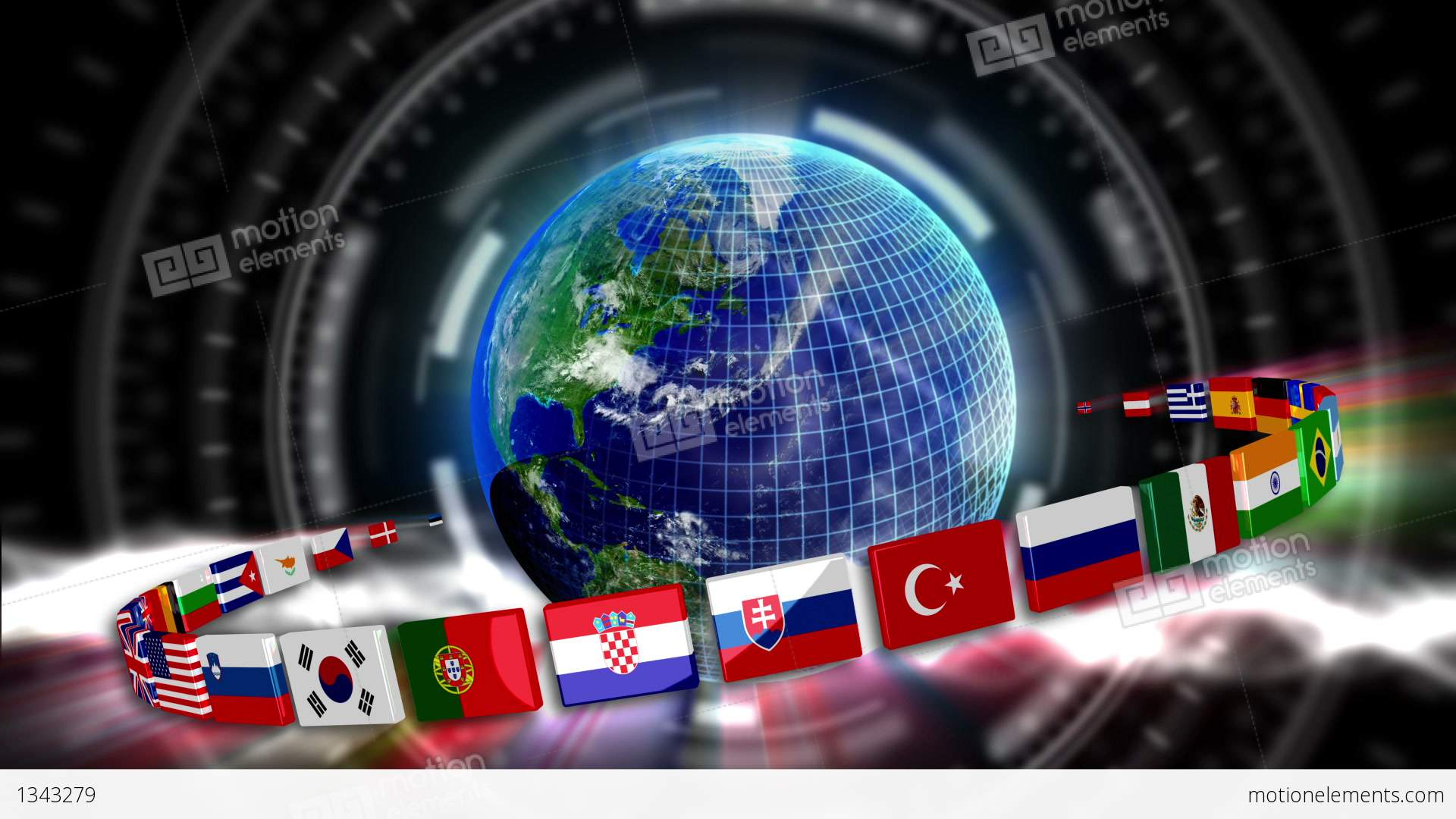 Spinning Earth With Flags Earth 89 Hd Stock Animation