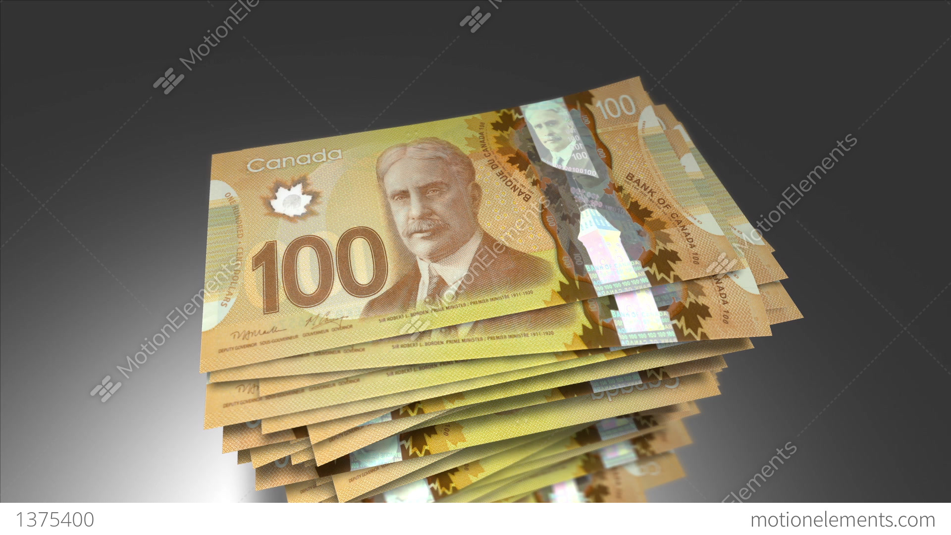 Huge Stack Of 100 Canadian Dollar Bills Stock Animation