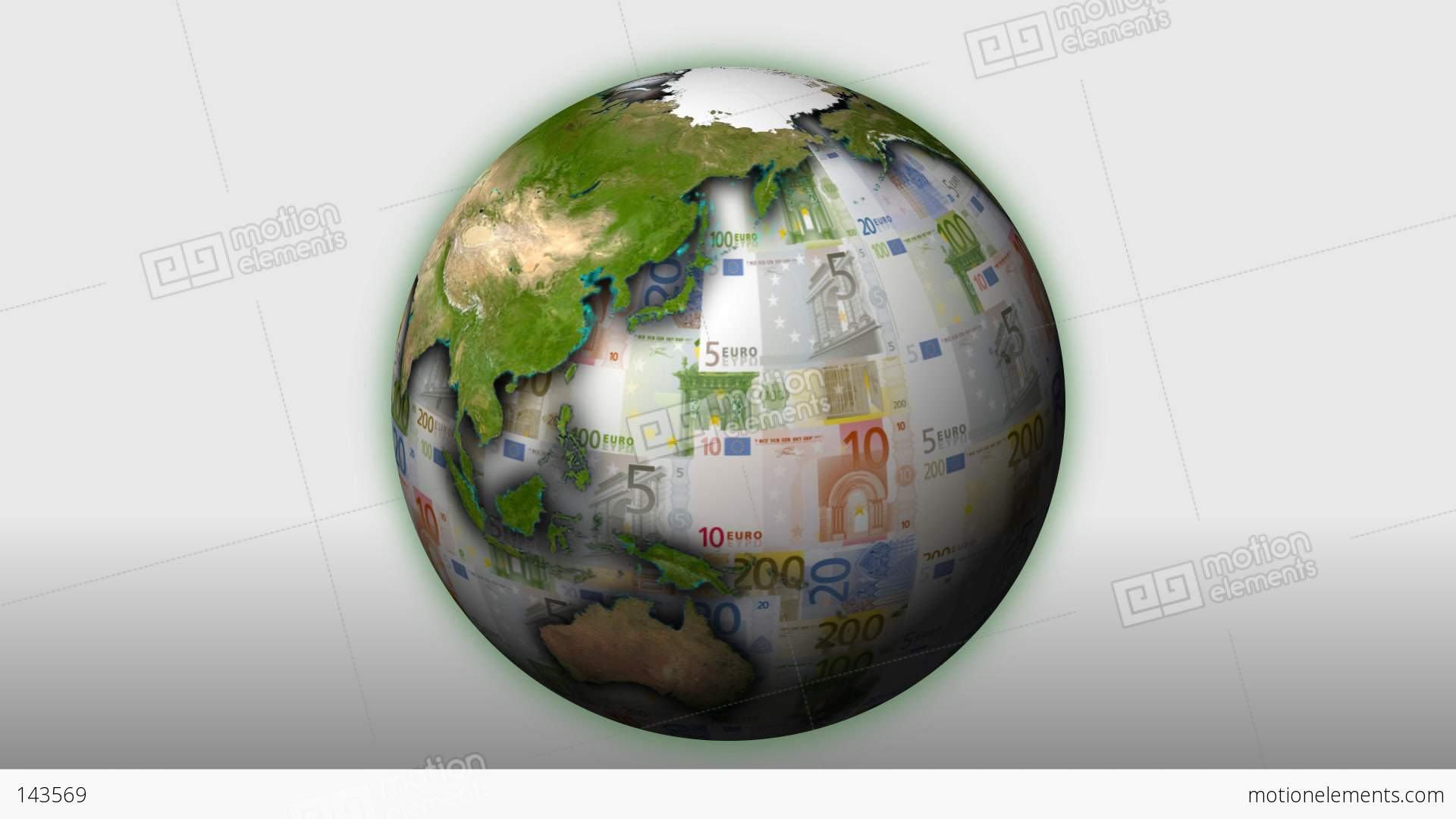 money themed rotating globe with multi coloured euro Spinning Earth Clip Art Spinning Earth Clip Art